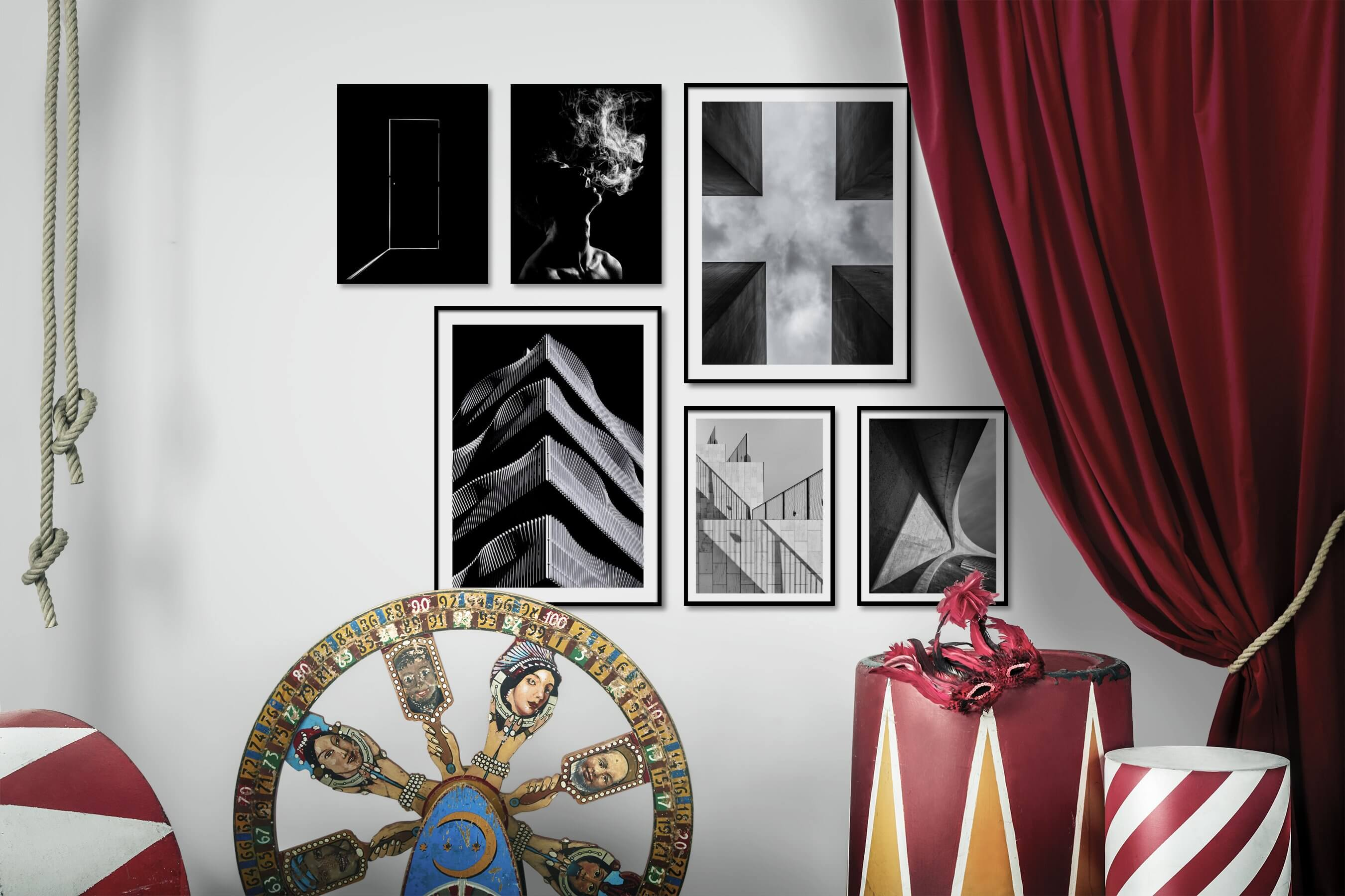 Gallery wall idea with six framed pictures arranged on a wall depicting Black & White, Dark Tones, For the Minimalist, Fashion & Beauty, and For the Moderate