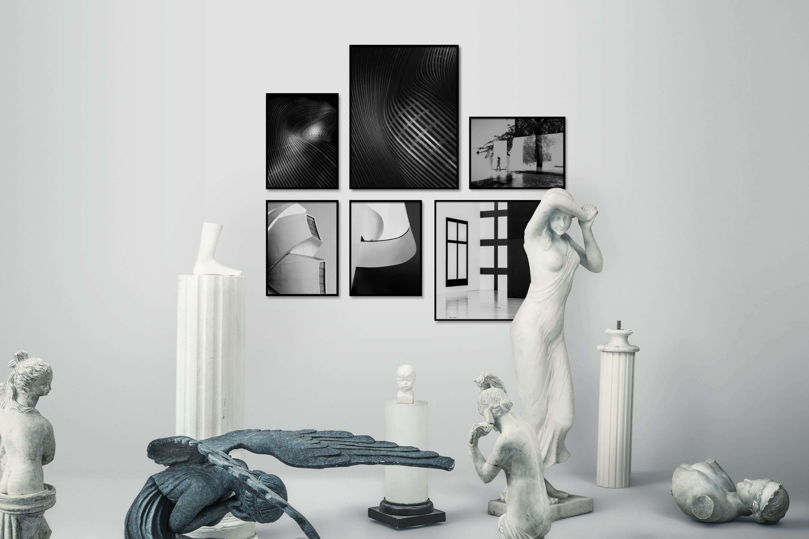 Gallery wall idea with six framed pictures arranged on a wall depicting Black & White, For the Minimalist, For the Moderate, and Artsy
