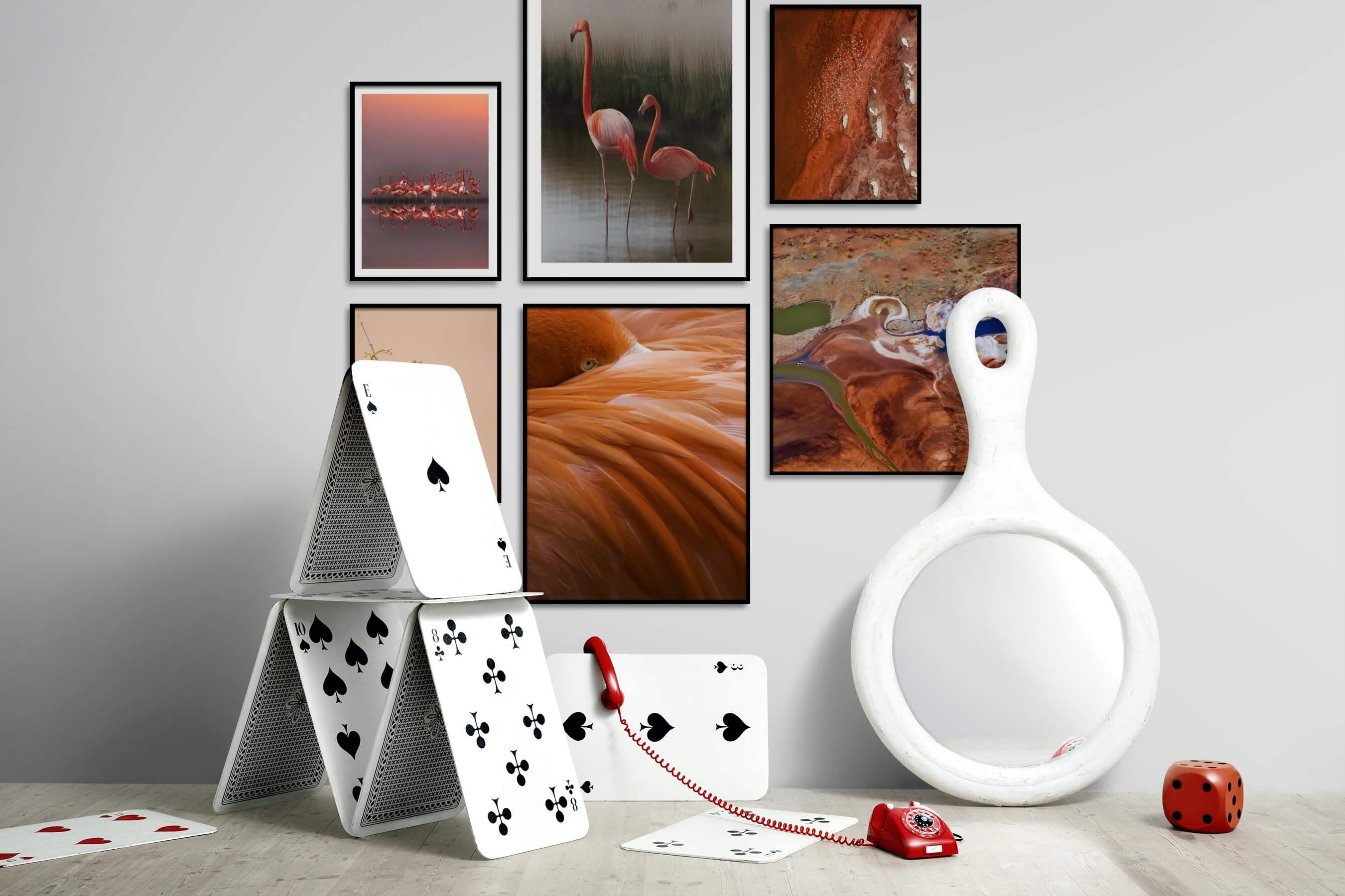 Gallery wall idea with six framed pictures arranged on a wall depicting For the Minimalist, Animals, For the Moderate, and Nature
