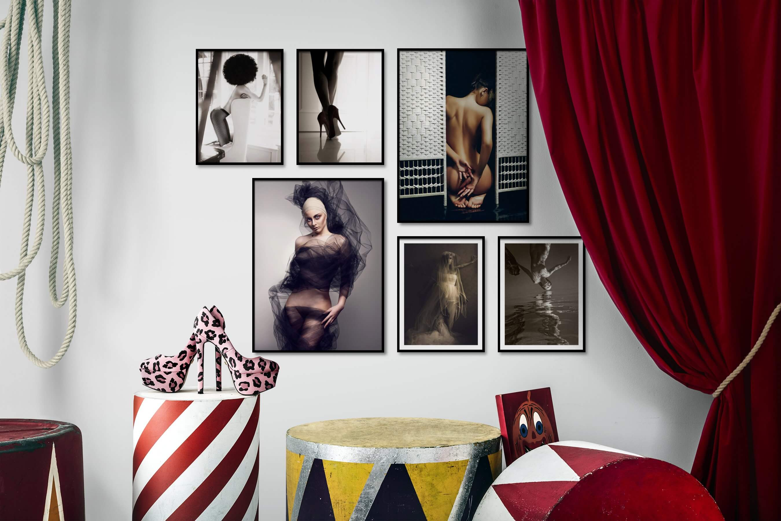 Gallery wall idea with six framed pictures arranged on a wall depicting Fashion & Beauty, Black & White, For the Moderate, Artsy, and Beach & Water