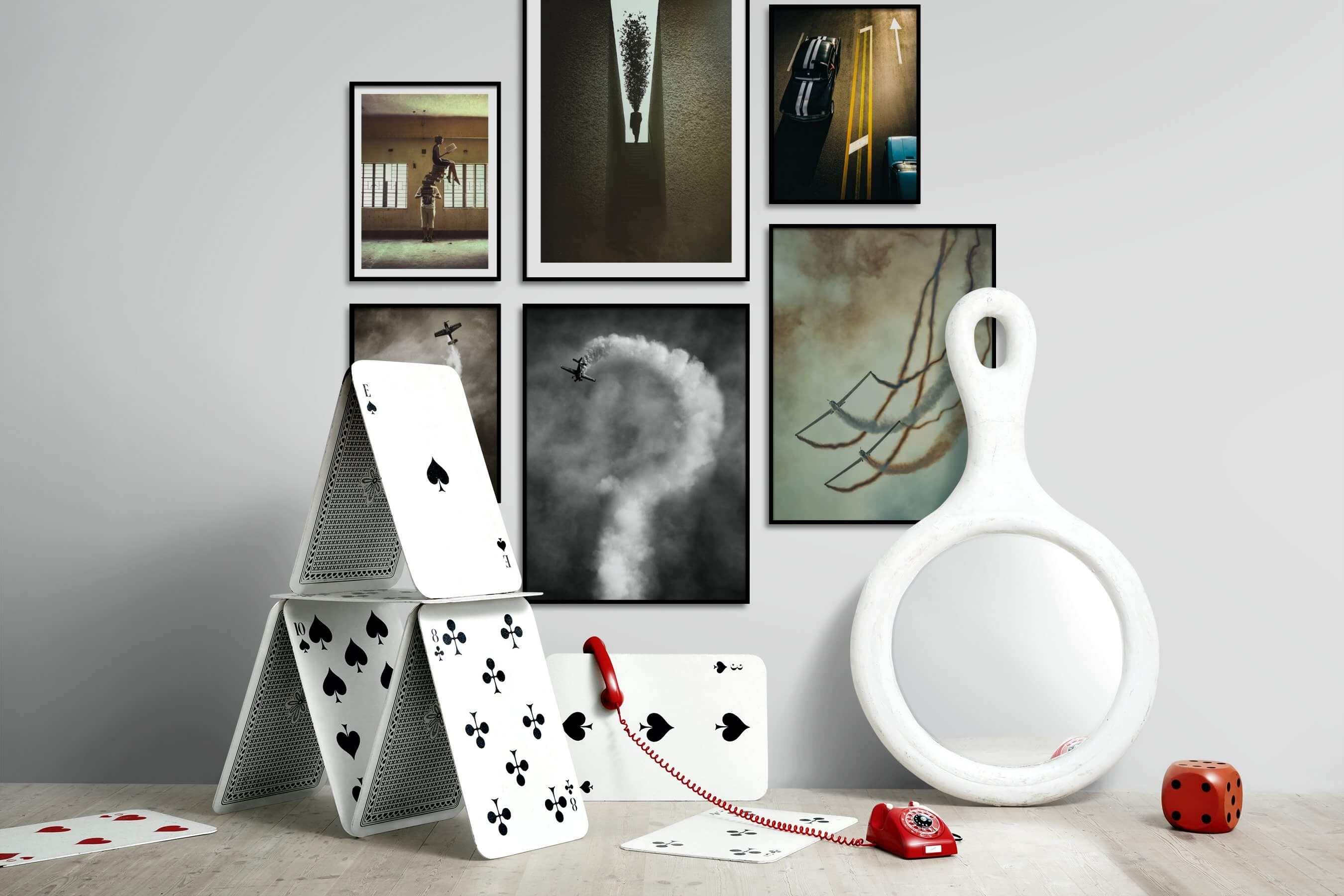 Gallery wall idea with six framed pictures arranged on a wall depicting Artsy, For the Minimalist, Black & White, Vintage, and For the Moderate