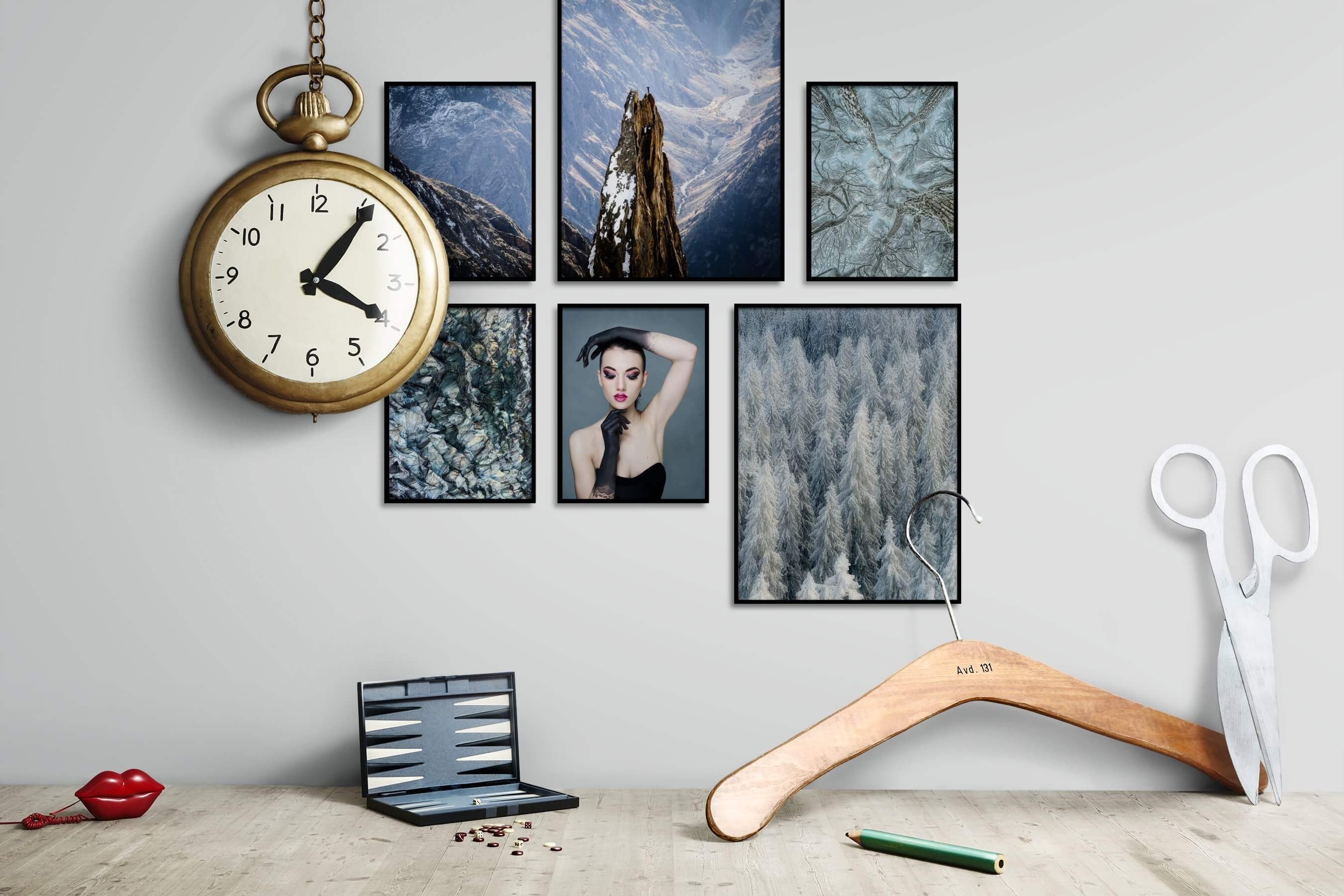 Gallery wall idea with six framed pictures arranged on a wall depicting For the Moderate, Nature, Mindfulness, For the Maximalist, and Fashion & Beauty