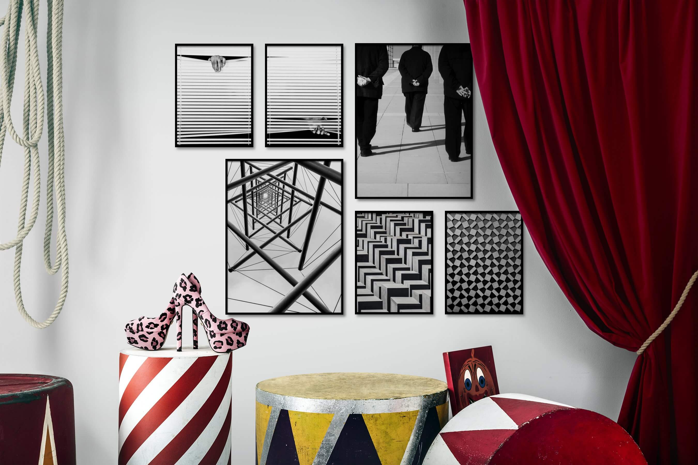 Gallery wall idea with six framed pictures arranged on a wall depicting Black & White, For the Moderate, Artsy, and For the Maximalist