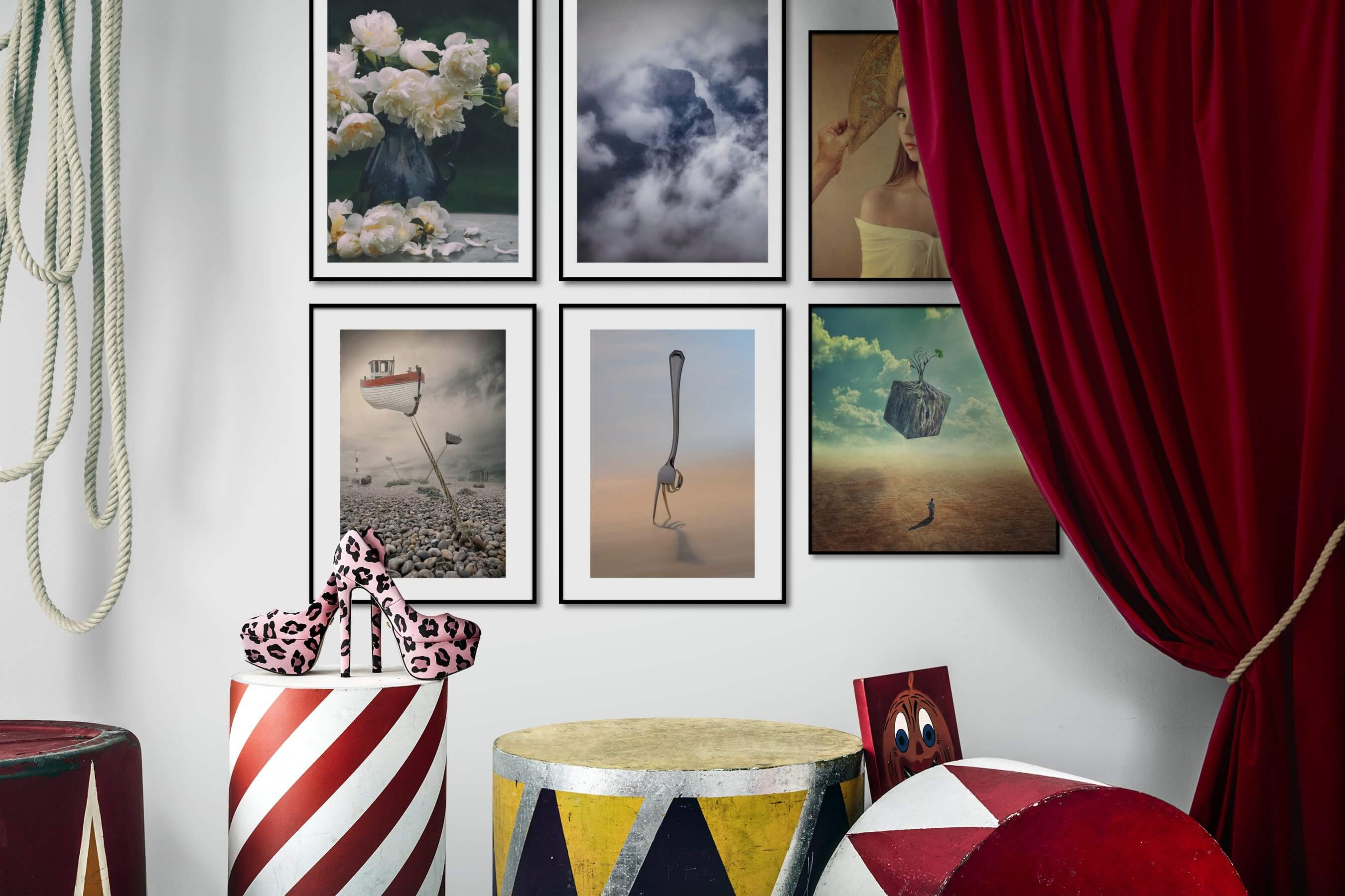 Gallery wall idea with six framed pictures arranged on a wall depicting Flowers & Plants, For the Moderate, Nature, Mindfulness, Artsy, For the Minimalist, Fashion & Beauty, and Vintage