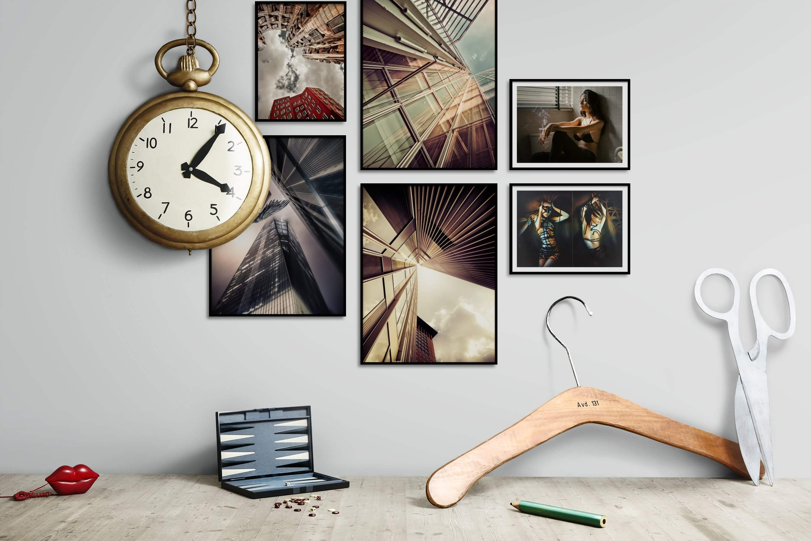 Gallery wall idea with six framed pictures arranged on a wall depicting For the Moderate, City Life, For the Maximalist, Artsy, and Fashion & Beauty