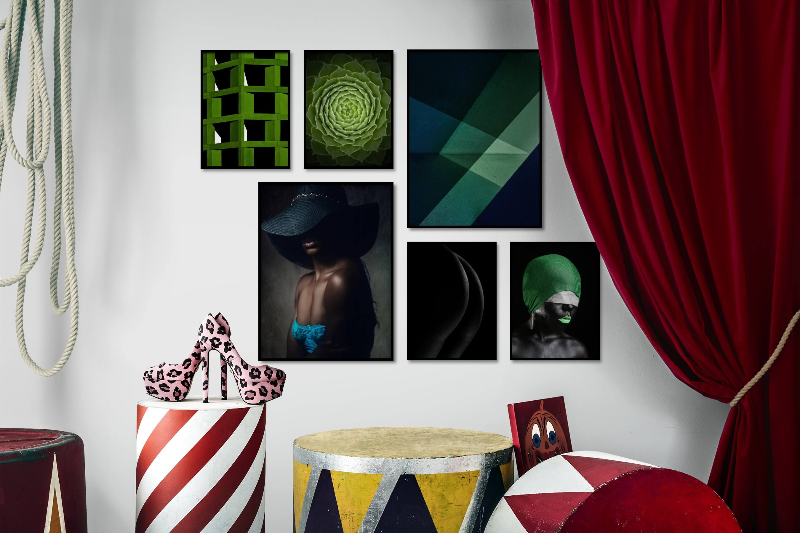 Gallery wall idea with six framed pictures arranged on a wall depicting Colorful, For the Moderate, Flowers & Plants, Fashion & Beauty, For the Minimalist, Black & White, Dark Tones, and Artsy