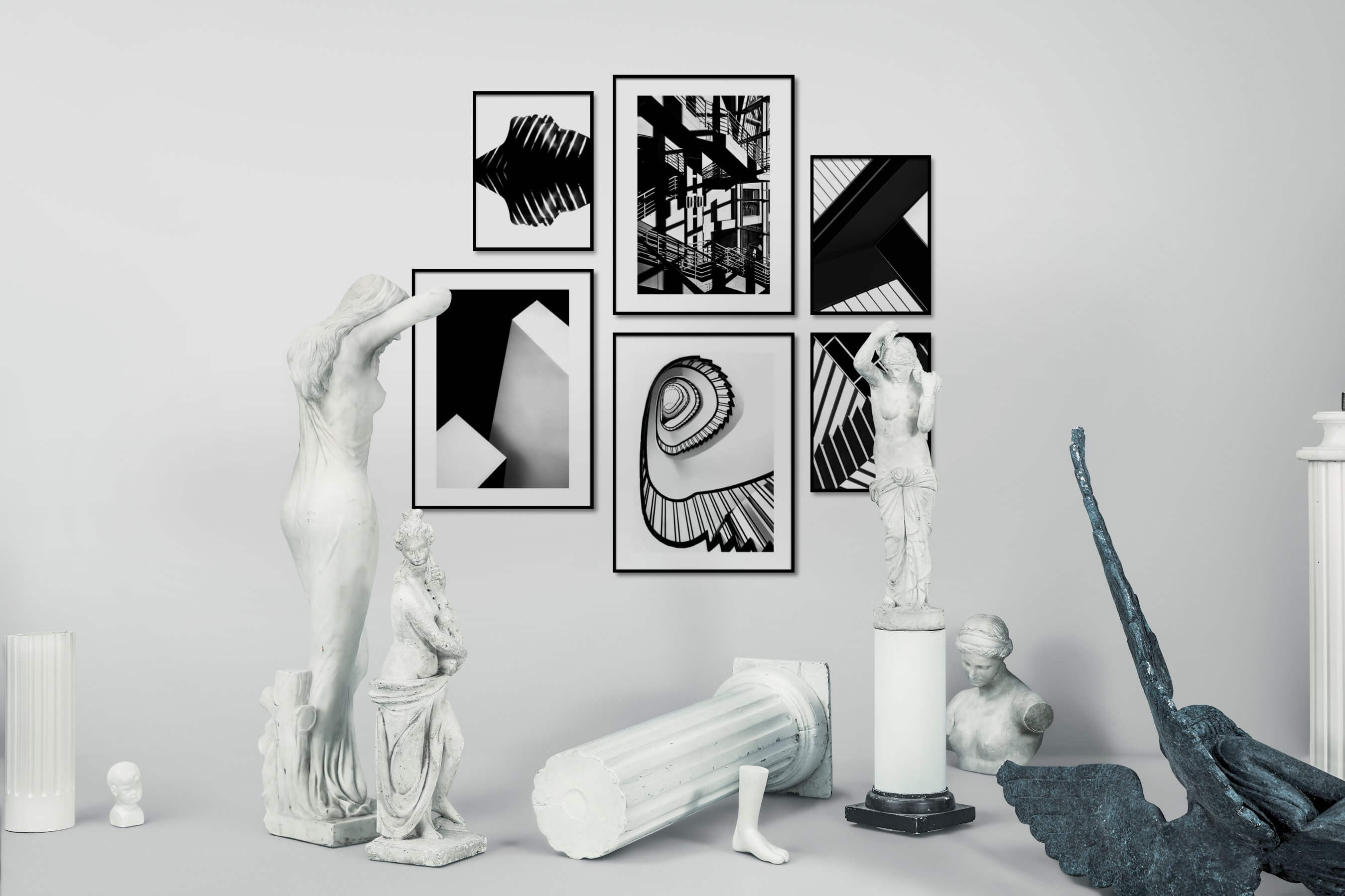 Gallery wall idea with six framed pictures arranged on a wall depicting Black & White, Bright Tones, For the Minimalist, For the Maximalist, City Life, and For the Moderate