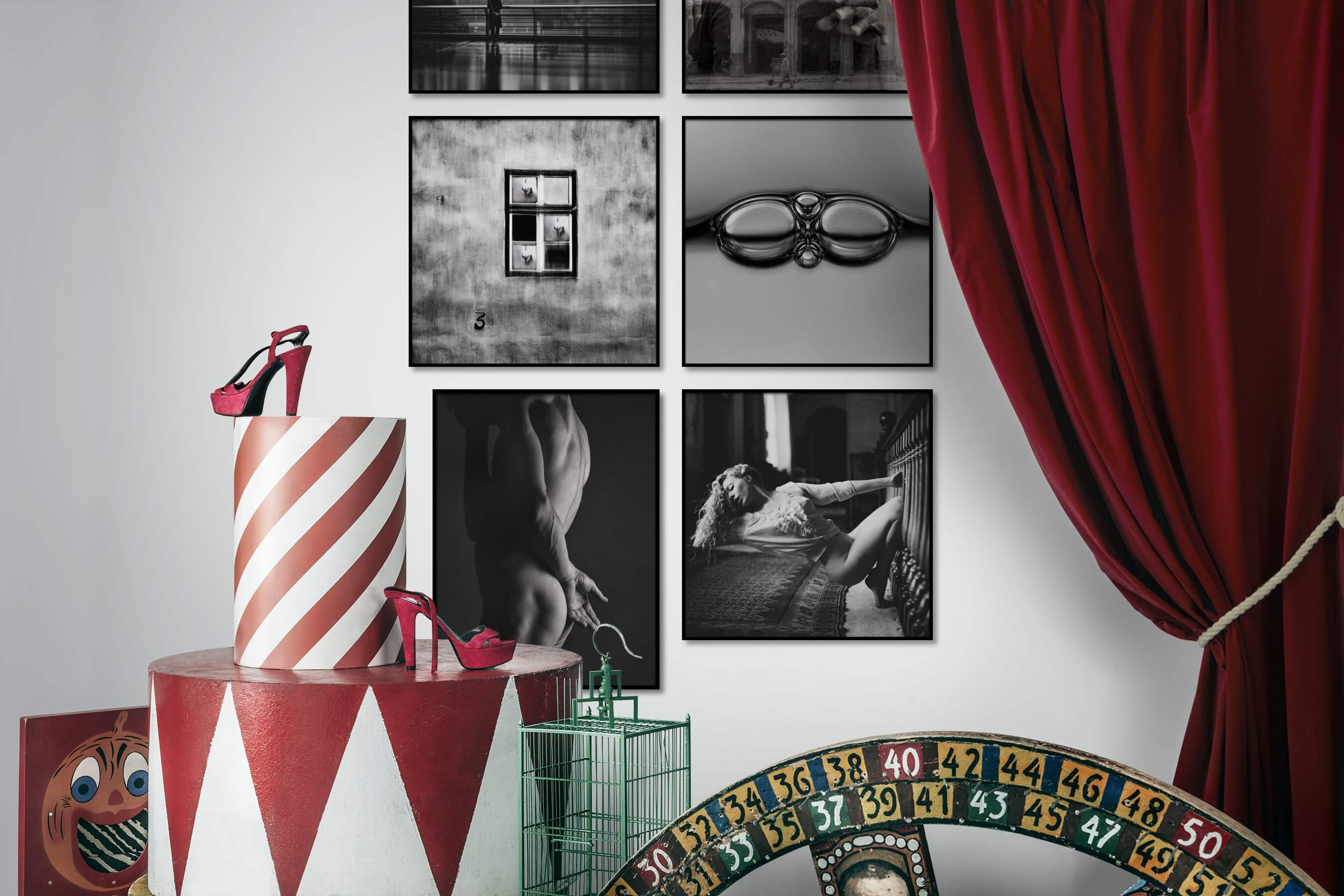 Gallery wall idea with six framed pictures arranged on a wall depicting Black & White, City Life, Vintage, For the Minimalist, Fashion & Beauty, and Bold