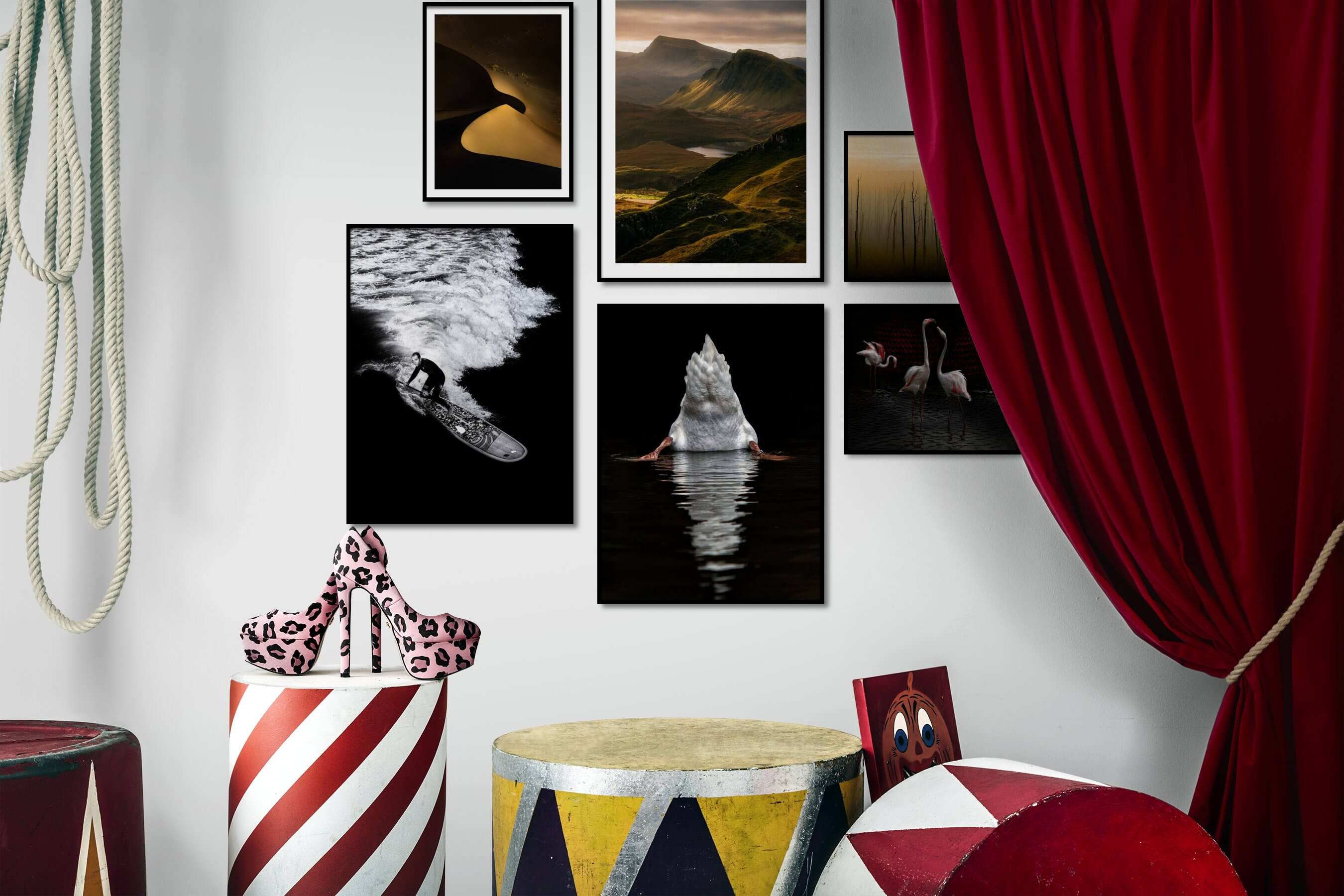 Gallery wall idea with six framed pictures arranged on a wall depicting Nature, Black & White, Dark Tones, For the Moderate, Beach & Water, For the Minimalist, and Animals