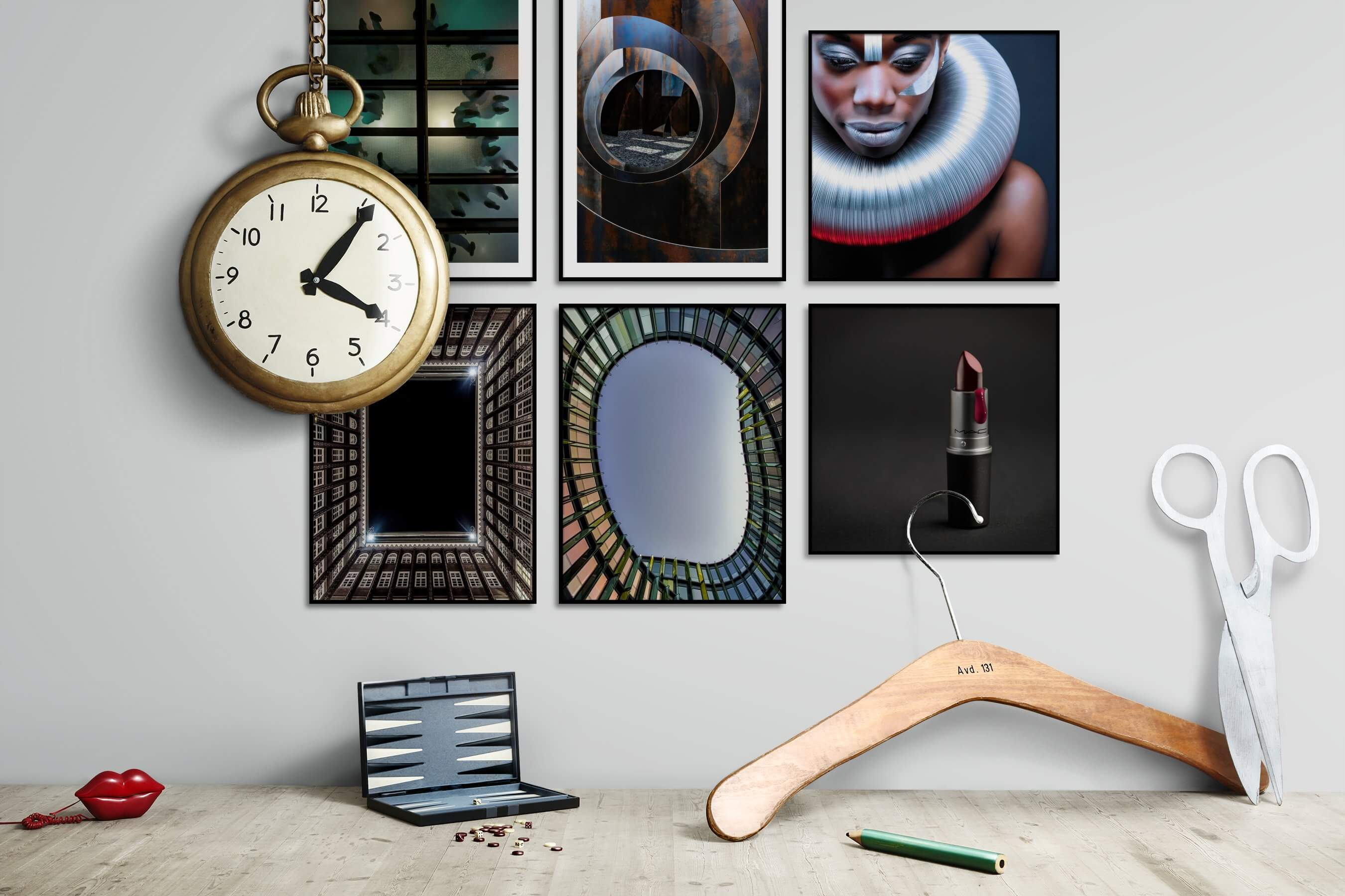 Gallery wall idea with six framed pictures arranged on a wall depicting For the Moderate, For the Maximalist, Fashion & Beauty, and For the Minimalist