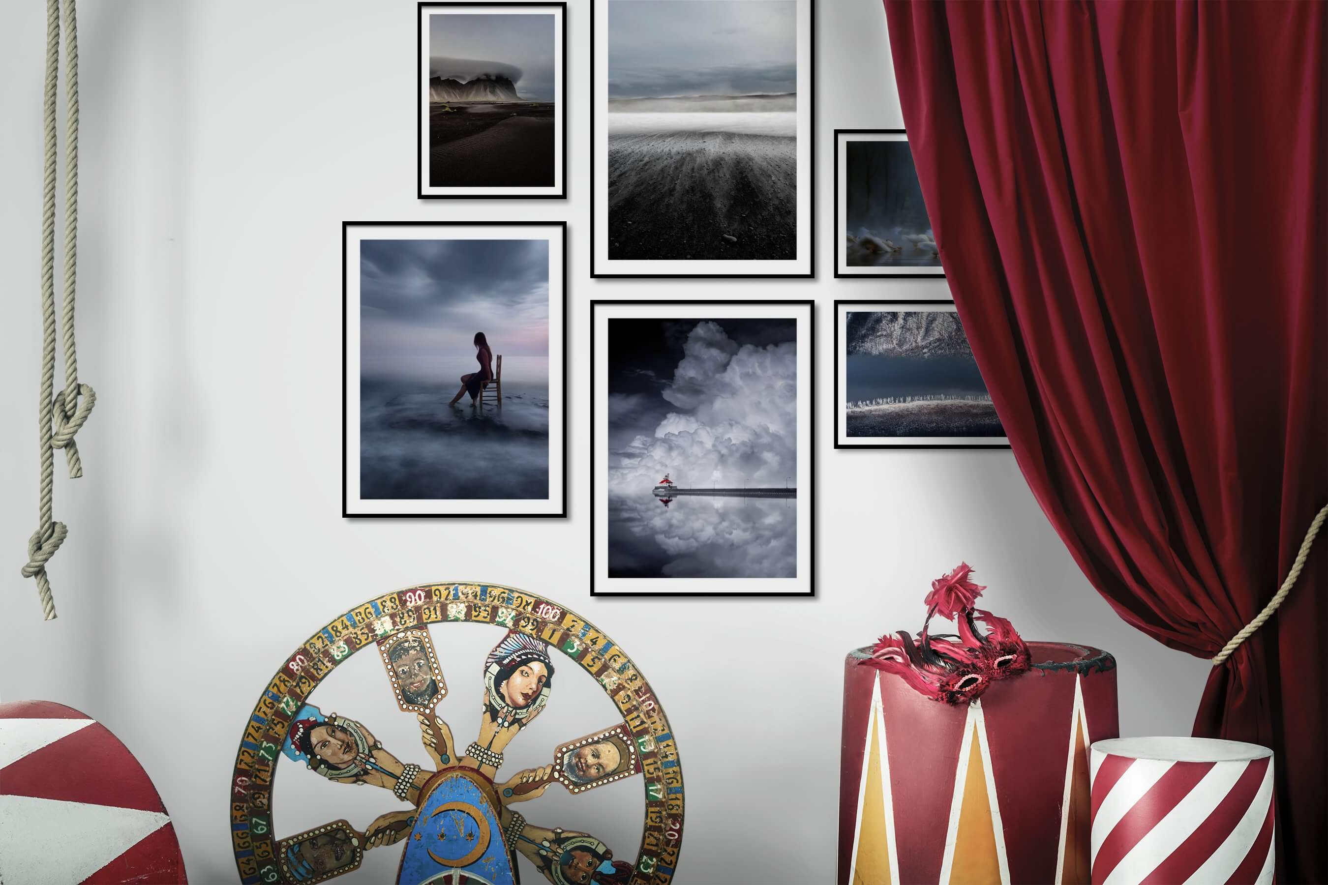 Gallery wall idea with six framed pictures arranged on a wall depicting Nature, Beach & Water, For the Minimalist, Mindfulness, and Fashion & Beauty