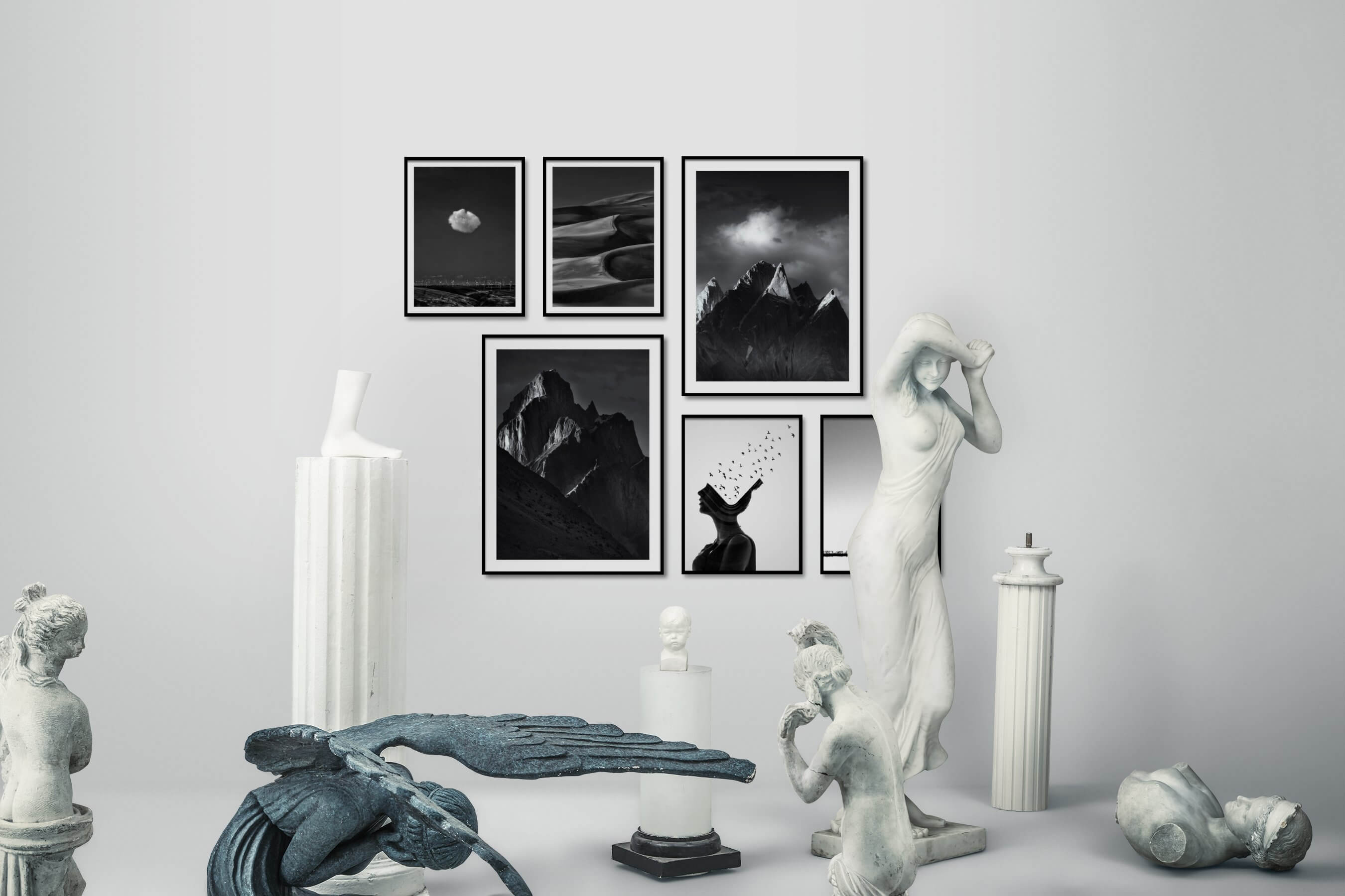 Gallery wall idea with six framed pictures arranged on a wall depicting Black & White, For the Minimalist, Country Life, Mindfulness, Nature, and Artsy