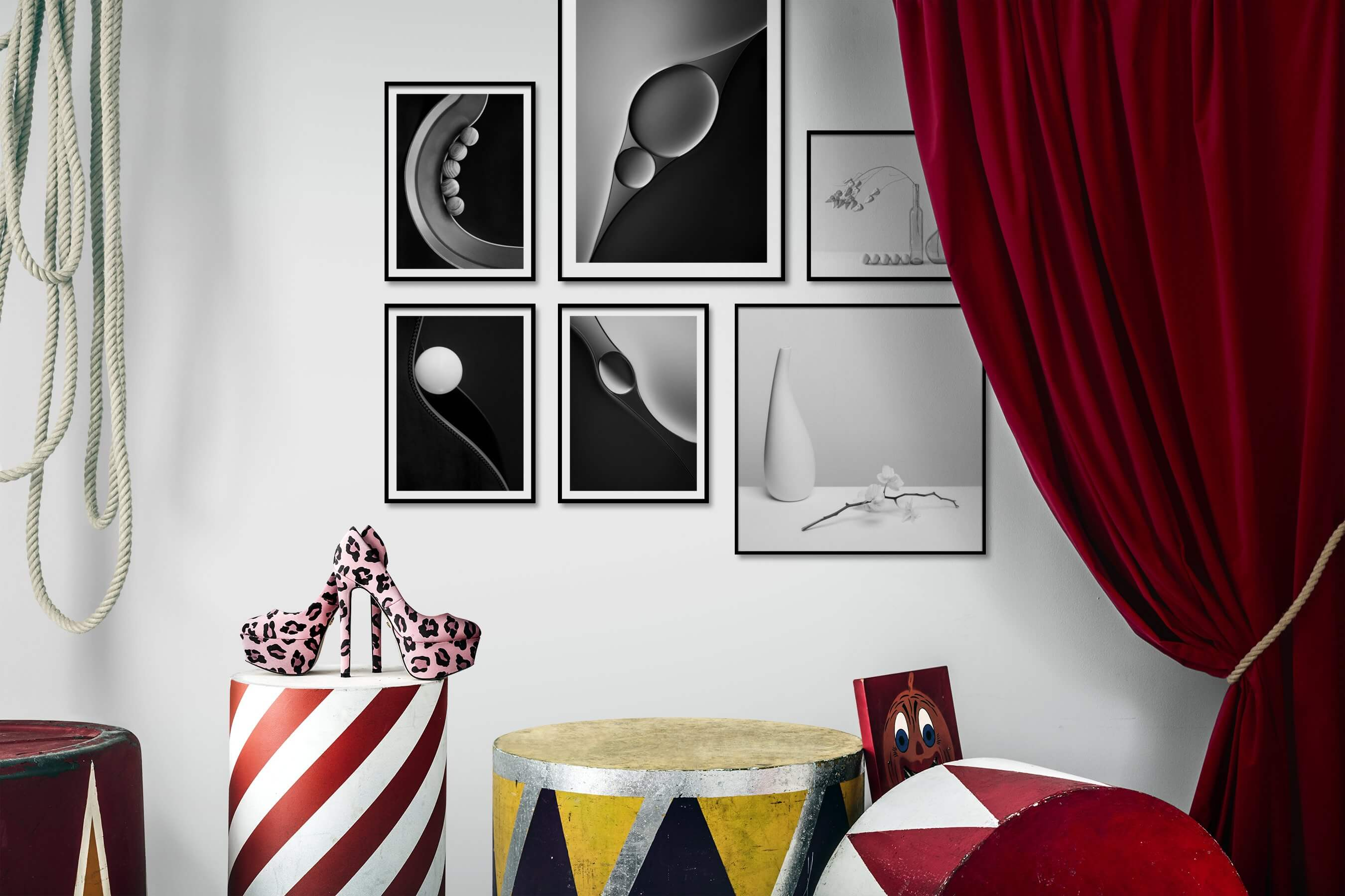 Gallery wall idea with six framed pictures arranged on a wall depicting Black & White, For the Minimalist, Bright Tones, and Flowers & Plants