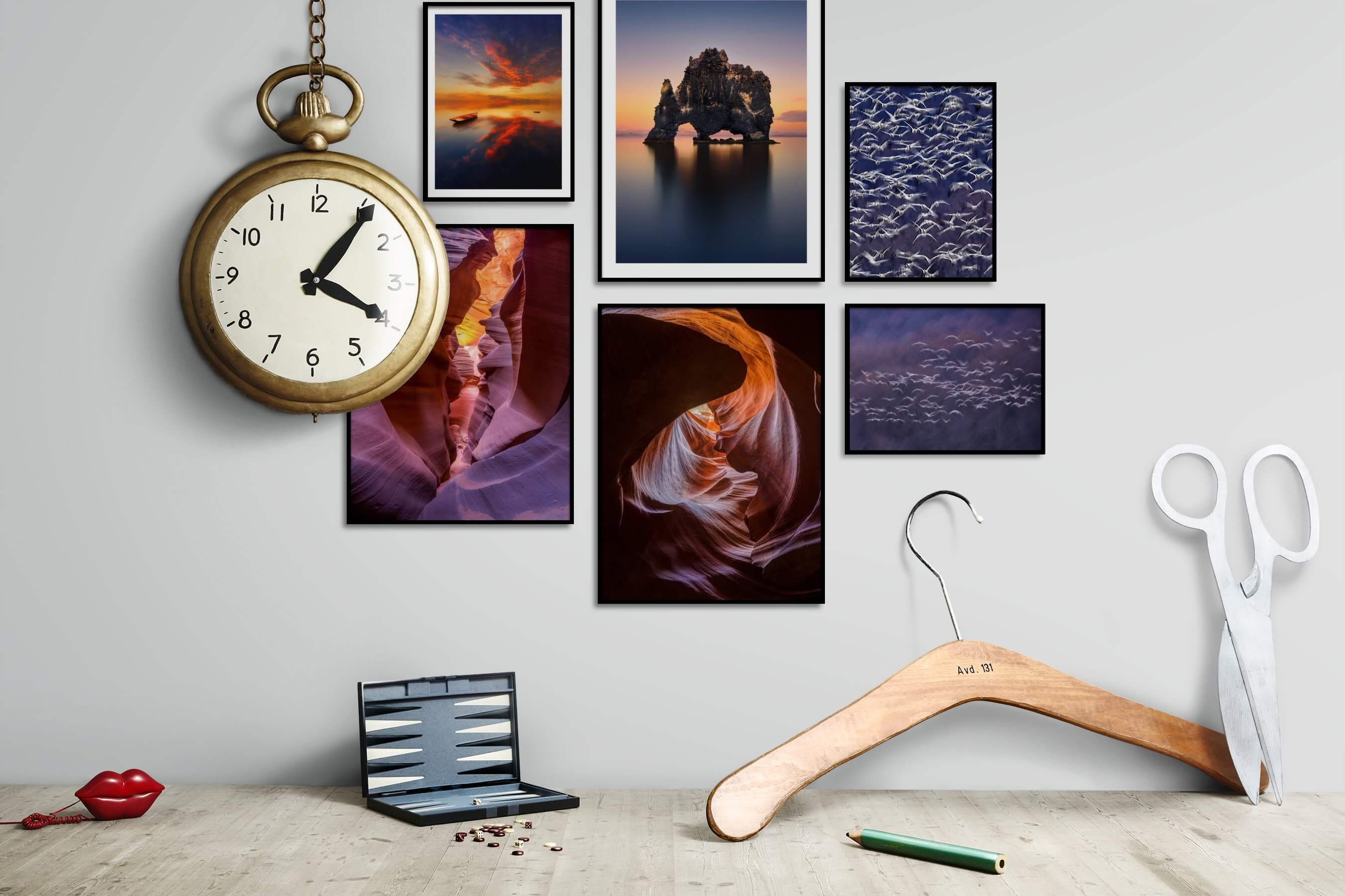 Gallery wall idea with six framed pictures arranged on a wall depicting For the Moderate, Beach & Water, Mindfulness, For the Minimalist, Nature, For the Maximalist, and Animals