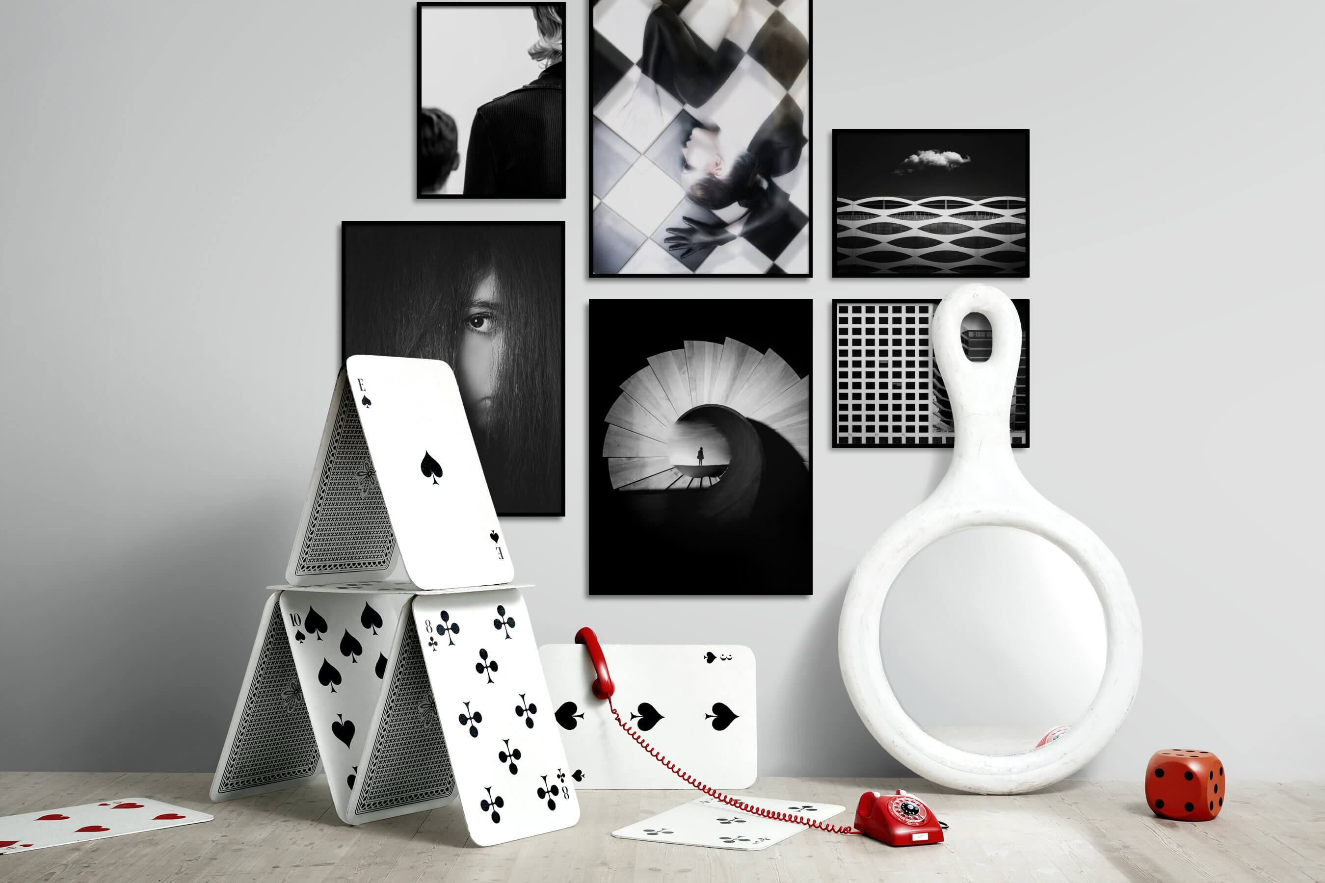 Gallery wall idea with six framed pictures arranged on a wall depicting Artsy, Black & White, Dark Tones, For the Minimalist, For the Moderate, and City Life