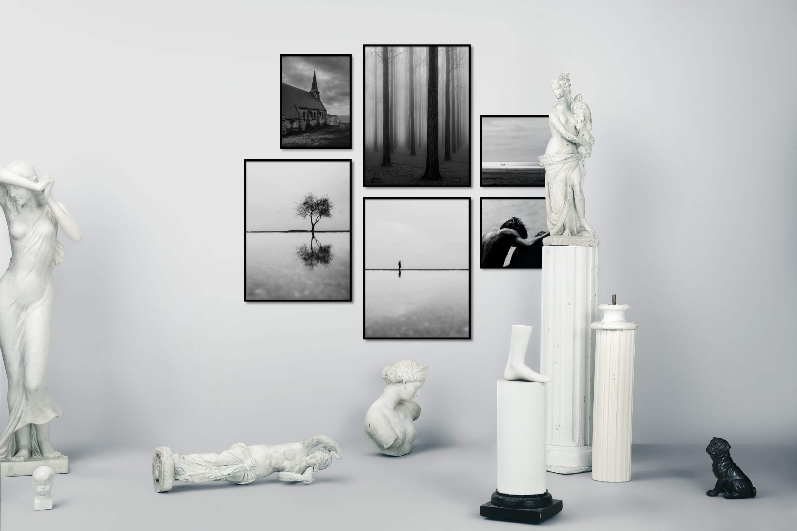 Gallery wall idea with six framed pictures arranged on a wall depicting Black & White, Country Life, Nature, For the Minimalist, Mindfulness, For the Moderate, and Beach & Water