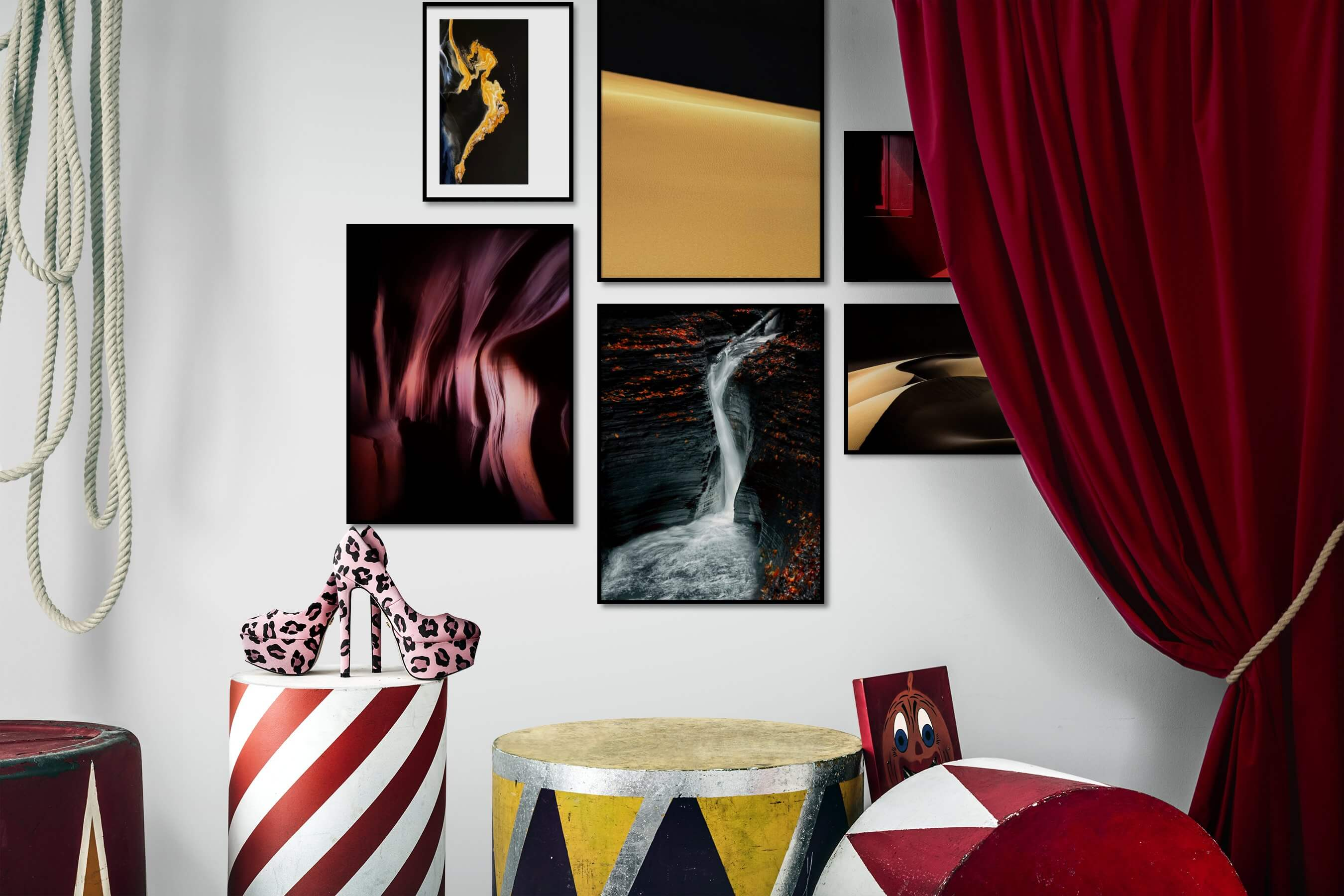 Gallery wall idea with six framed pictures arranged on a wall depicting For the Minimalist, Nature, For the Moderate, and Dark Tones