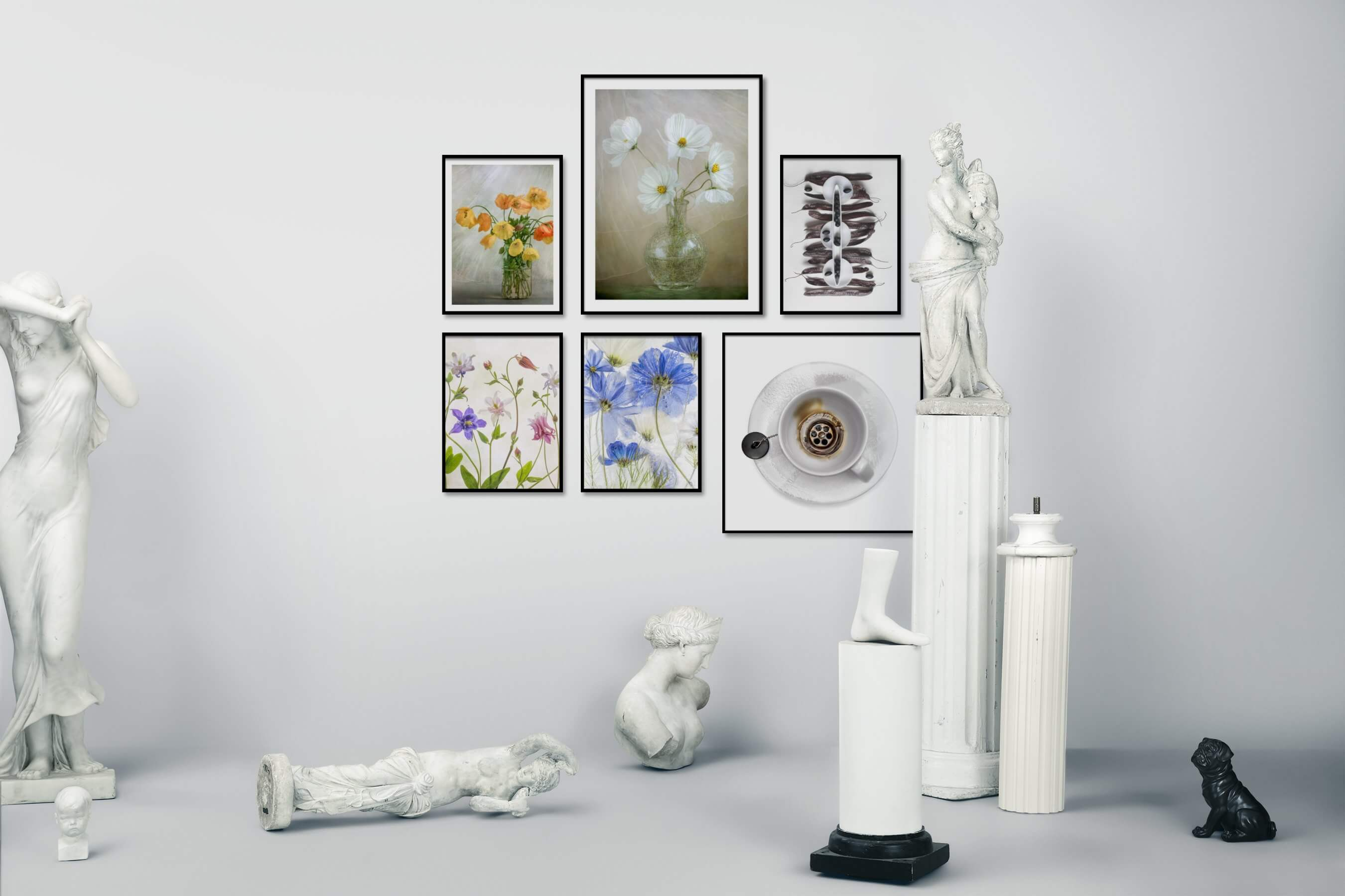Gallery wall idea with six framed pictures arranged on a wall depicting Flowers & Plants, Vintage, For the Moderate, Colorful, Artsy, Bright Tones, and For the Minimalist