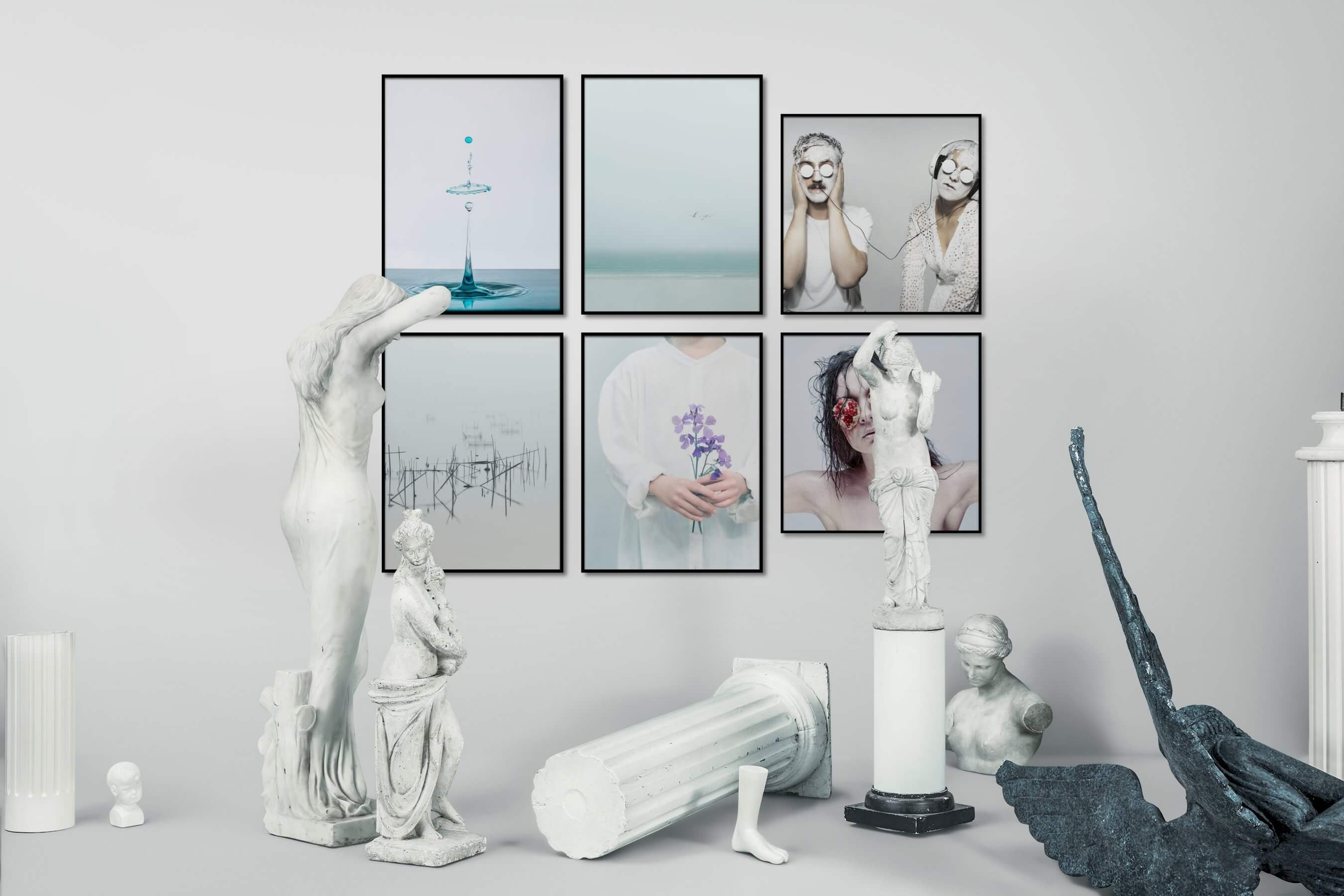 Gallery wall idea with six framed pictures arranged on a wall depicting Bright Tones, For the Minimalist, Mindfulness, Beach & Water, For the Moderate, Artsy, and Flowers & Plants