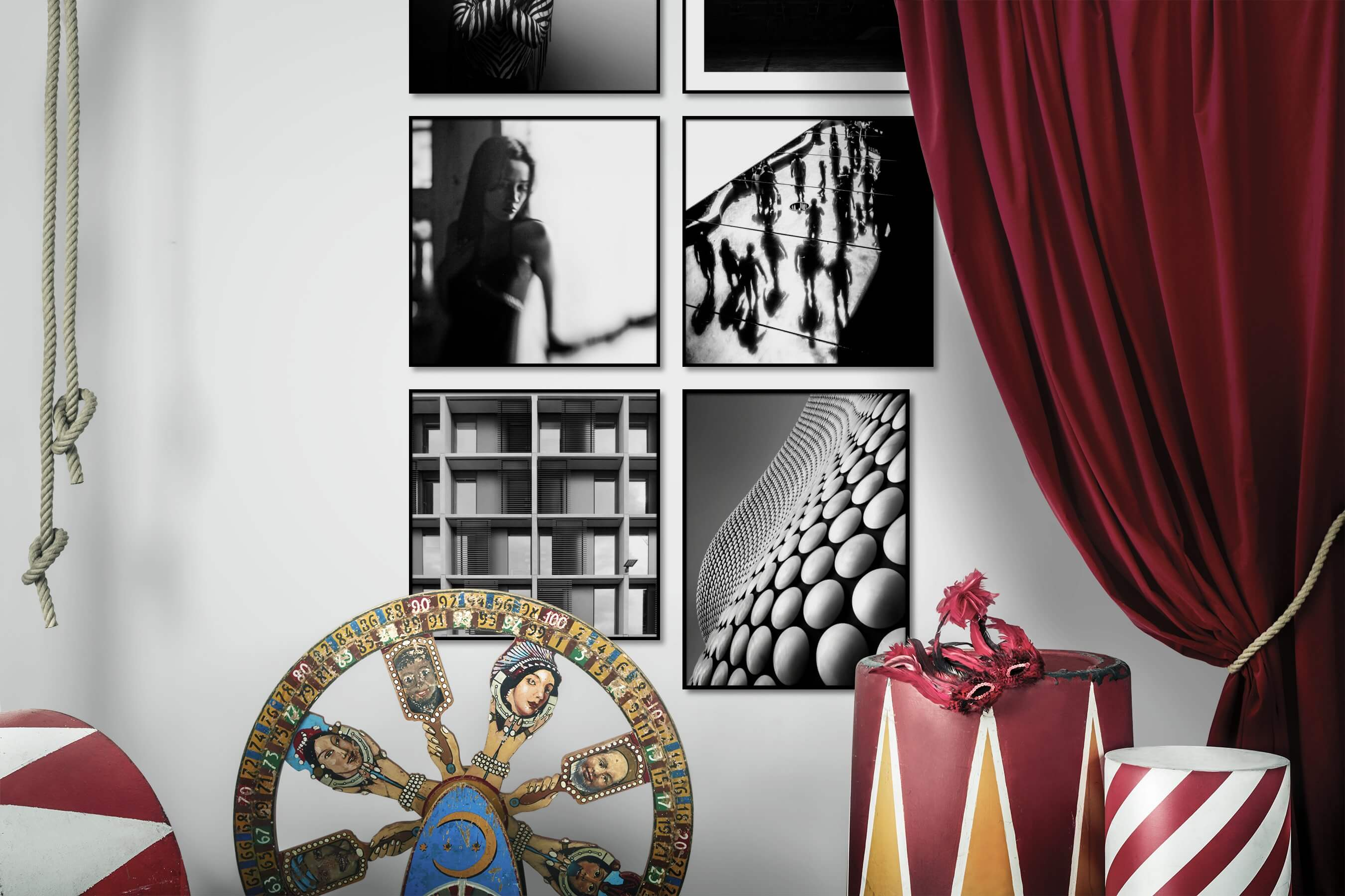 Gallery wall idea with six framed pictures arranged on a wall depicting Fashion & Beauty, Black & White, For the Minimalist, For the Moderate, City Life, and For the Maximalist