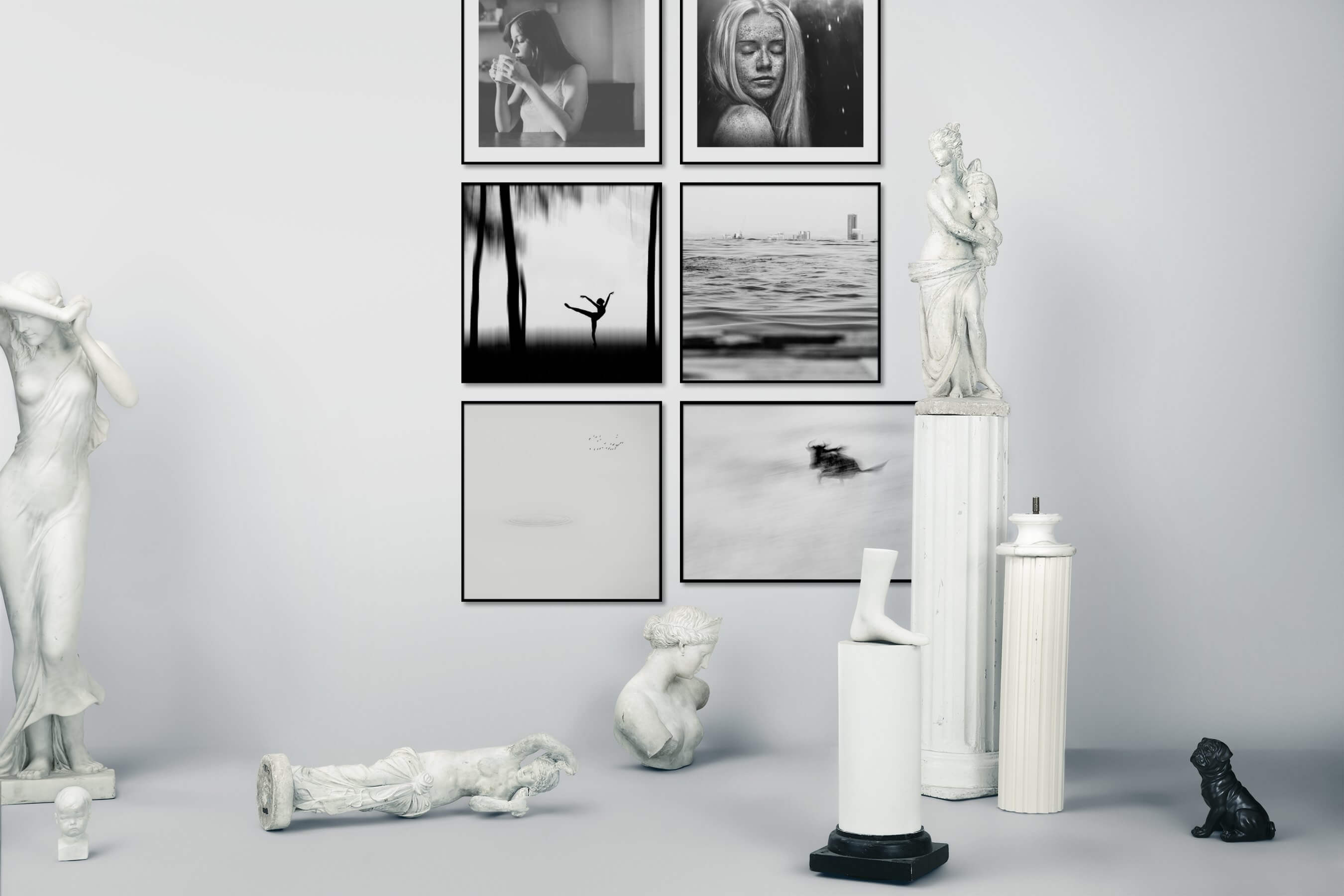 Gallery wall idea with six framed pictures arranged on a wall depicting Fashion & Beauty, Black & White, Mindfulness, For the Moderate, Beach & Water, City Life, Bright Tones, For the Minimalist, and Animals