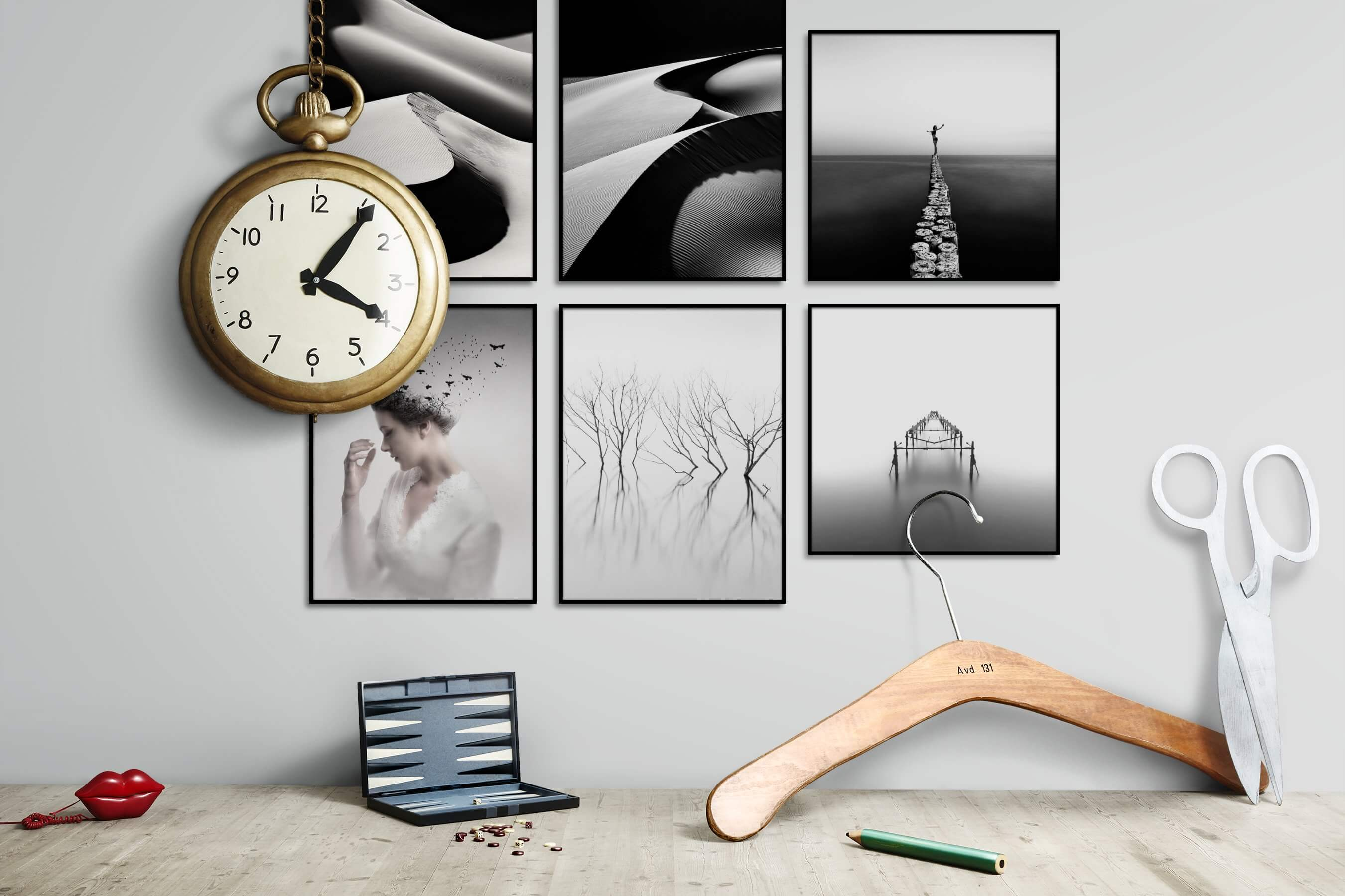 Gallery wall idea with six framed pictures arranged on a wall depicting Black & White, For the Moderate, Nature, Artsy, Bright Tones, For the Minimalist, and Mindfulness