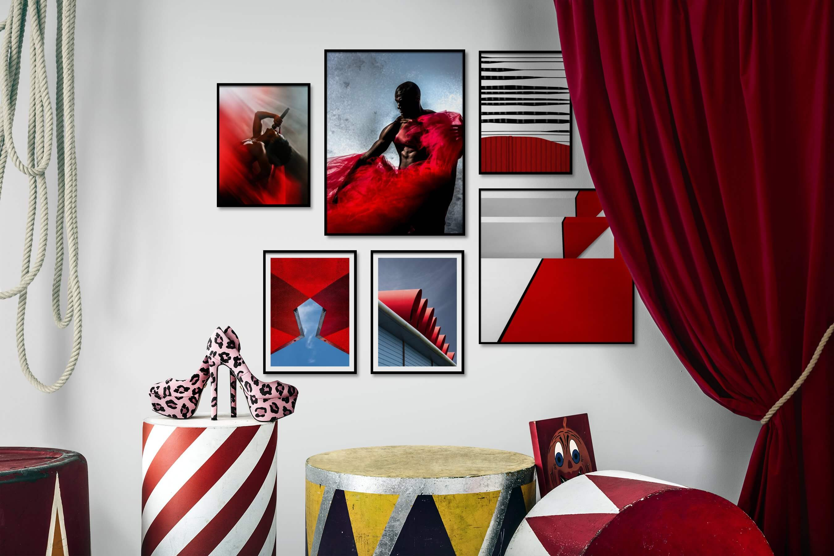 Gallery wall idea with six framed pictures arranged on a wall depicting Fashion & Beauty, Beach & Water, For the Moderate, and For the Minimalist