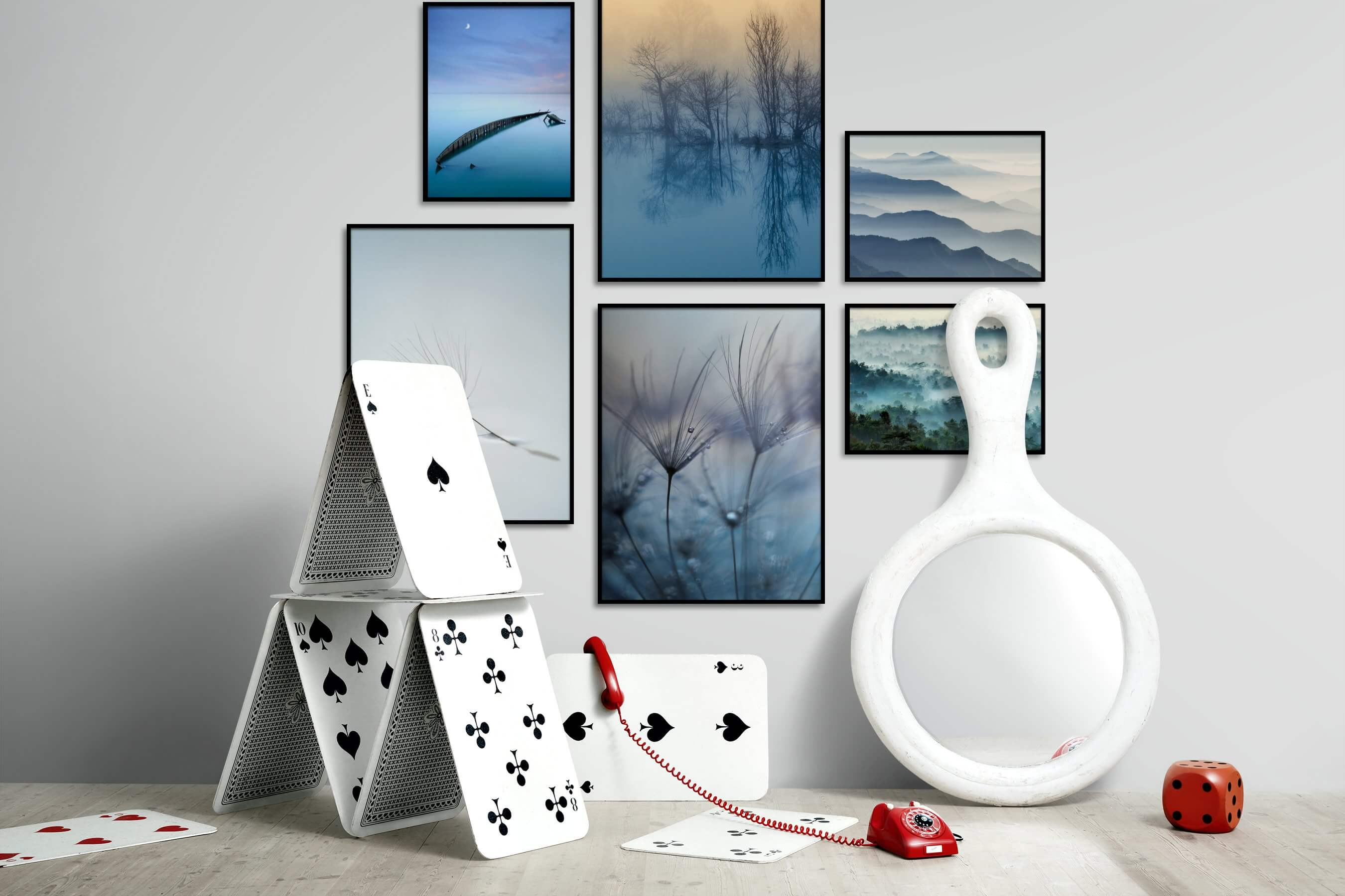 Gallery wall idea with six framed pictures arranged on a wall depicting For the Moderate, Beach & Water, Mindfulness, Nature, For the Minimalist, and Flowers & Plants