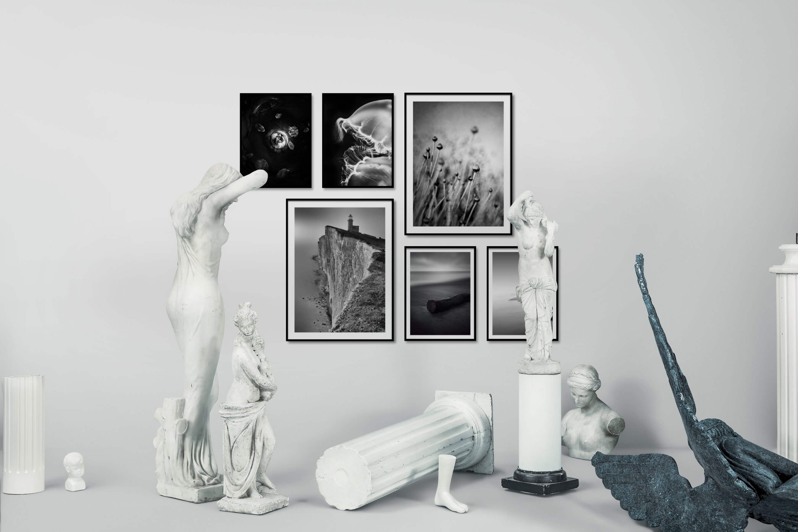 Gallery wall idea with six framed pictures arranged on a wall depicting Black & White, Dark Tones, For the Moderate, Animals, Beach & Water, Flowers & Plants, For the Minimalist, and Mindfulness