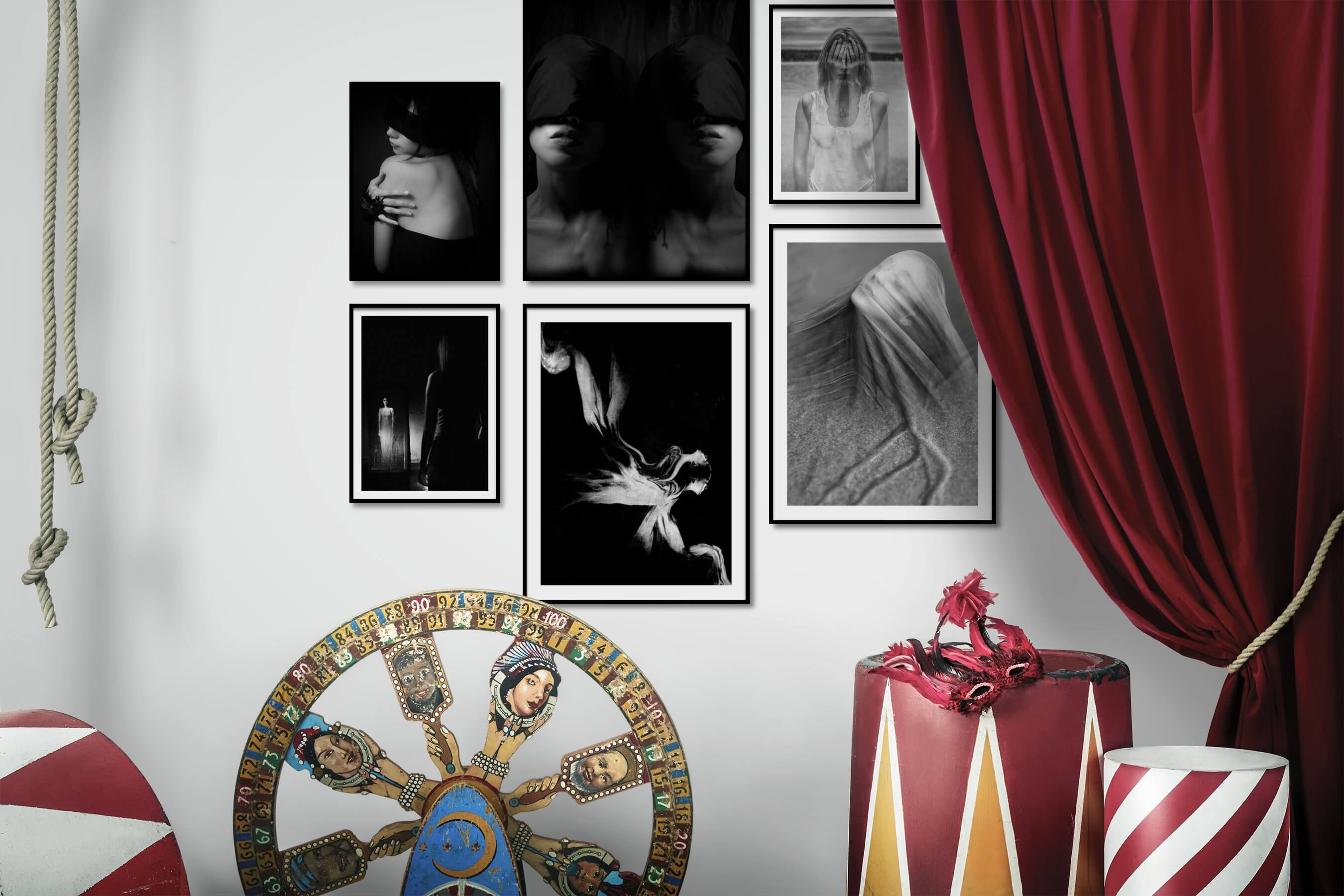 Gallery wall idea with six framed pictures arranged on a wall depicting Fashion & Beauty, Black & White, Dark Tones, For the Minimalist, and Artsy