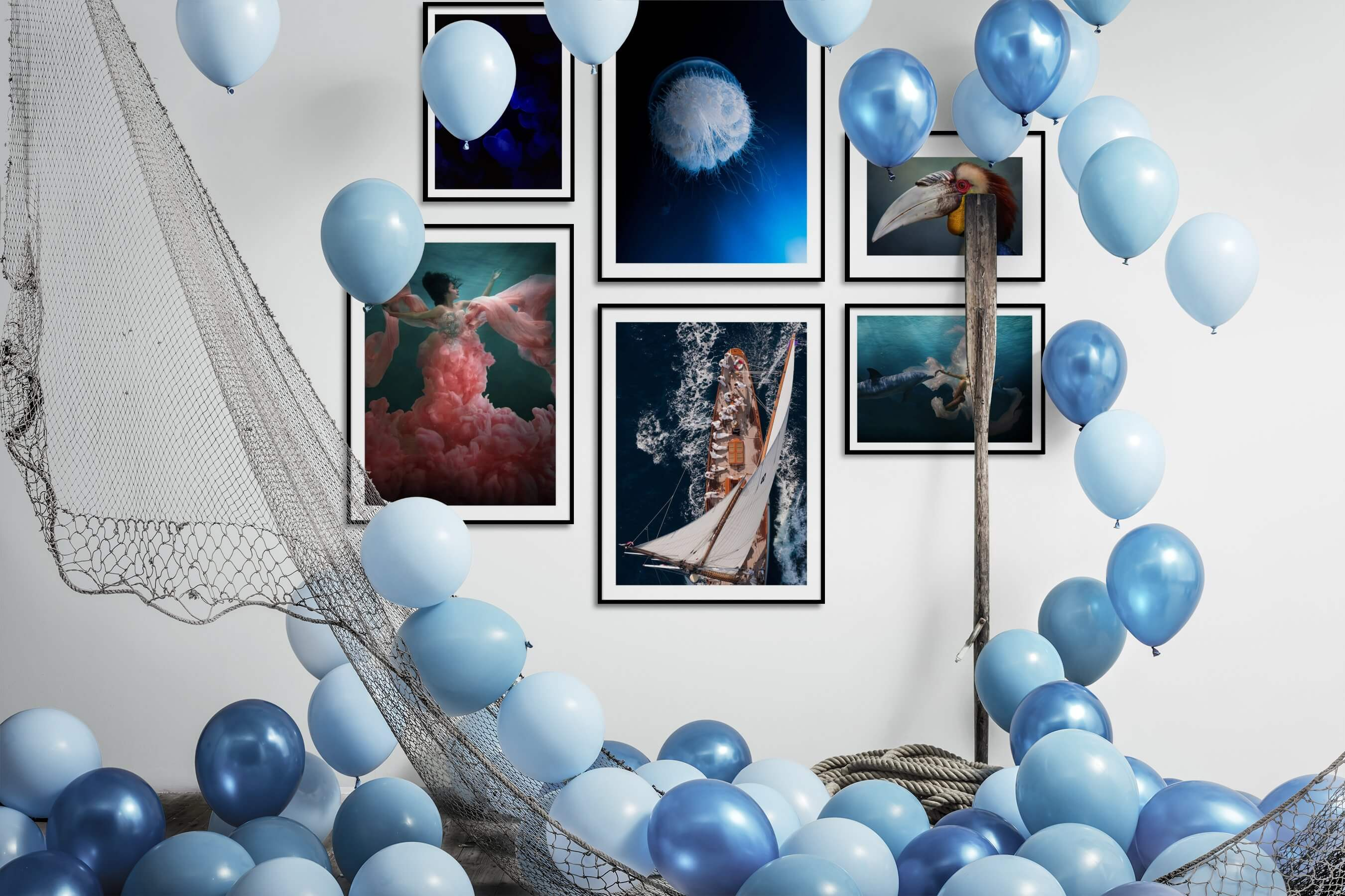 Gallery wall idea with six framed pictures arranged on a wall depicting Animals, For the Minimalist, Fashion & Beauty, and Beach & Water