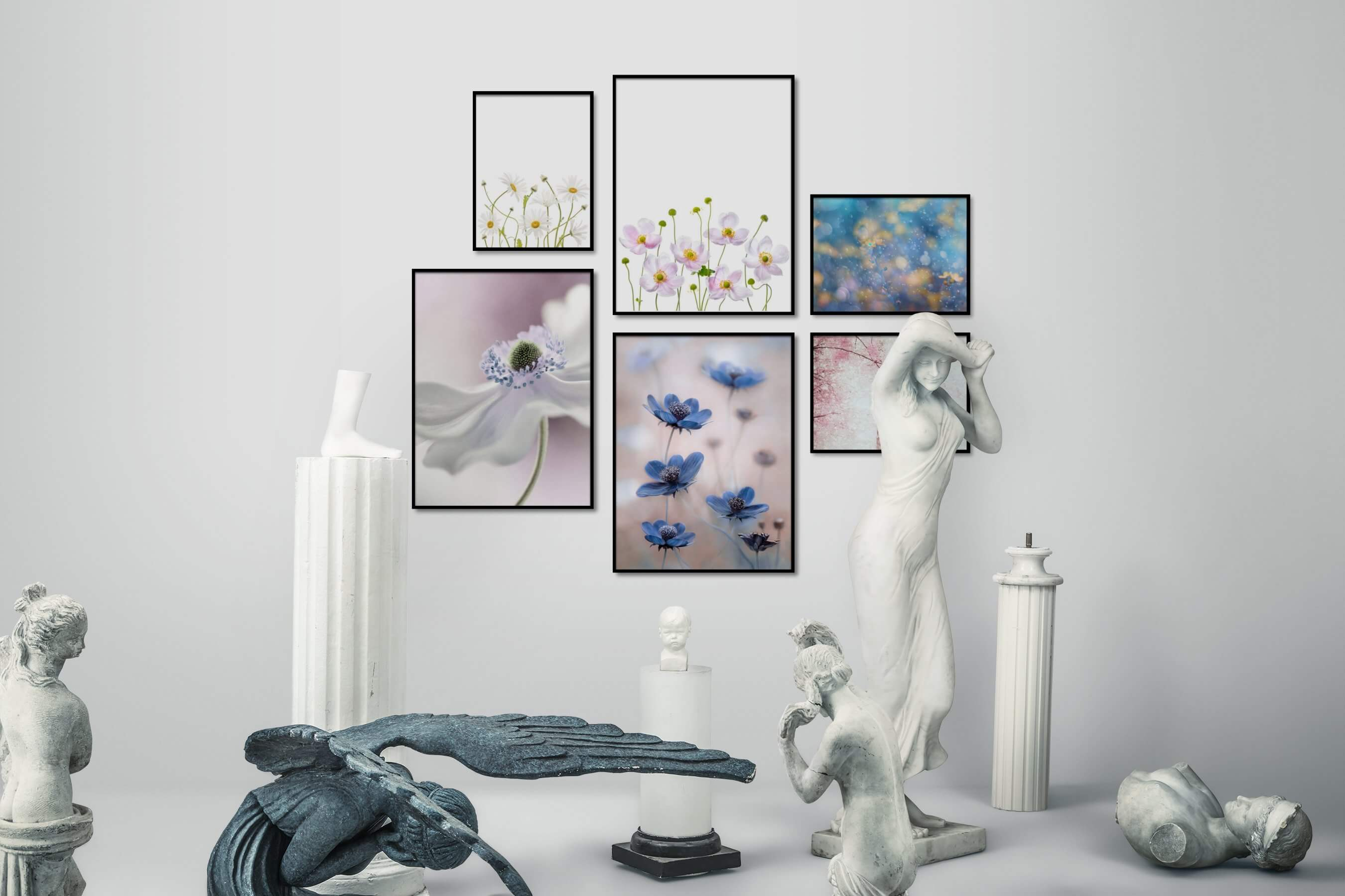 Gallery wall idea with six framed pictures arranged on a wall depicting Bright Tones, For the Minimalist, Flowers & Plants, and Nature