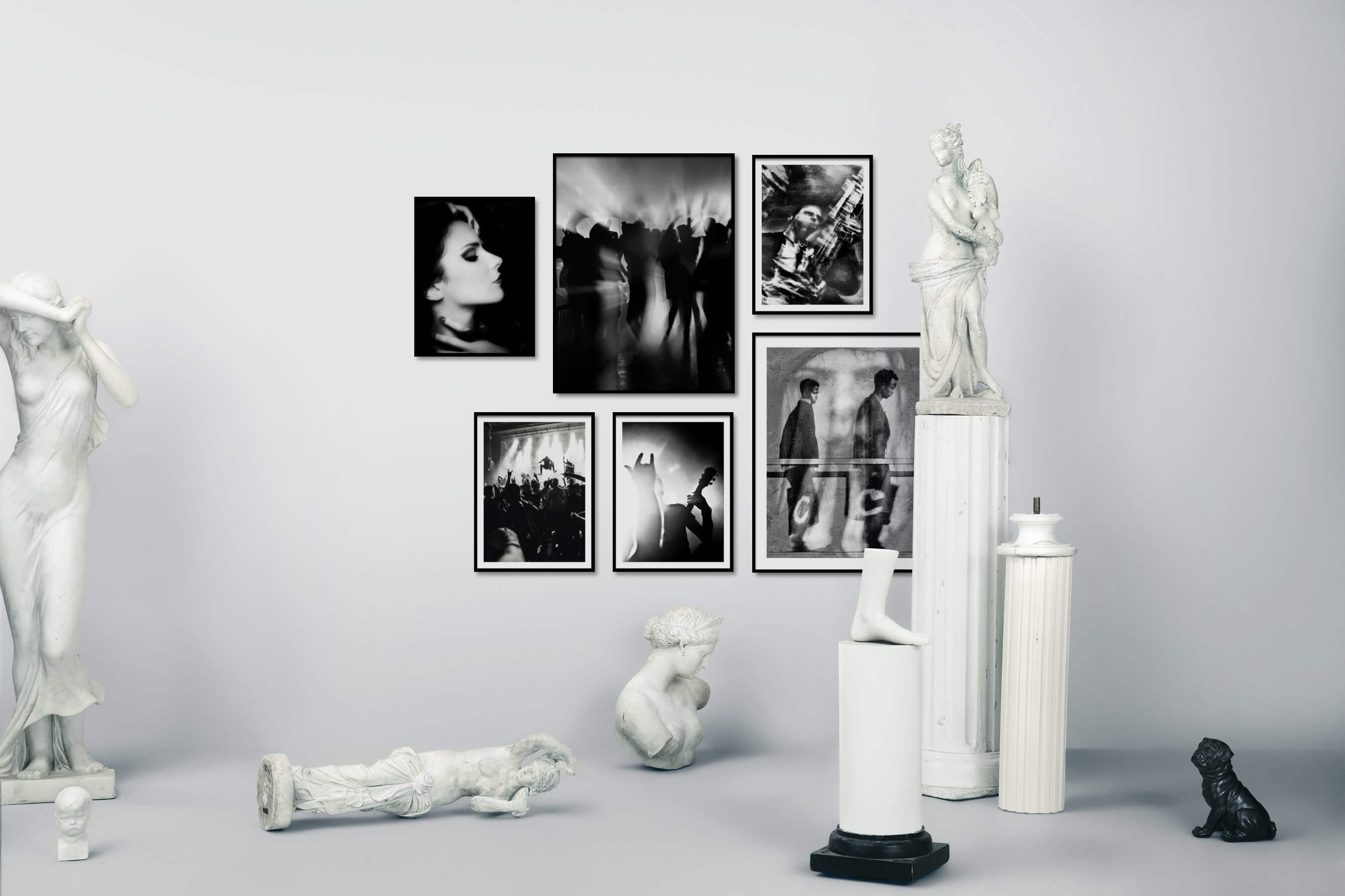 Gallery wall idea with six framed pictures arranged on a wall depicting Fashion & Beauty, Black & White, Dark Tones, Vintage, and Artsy