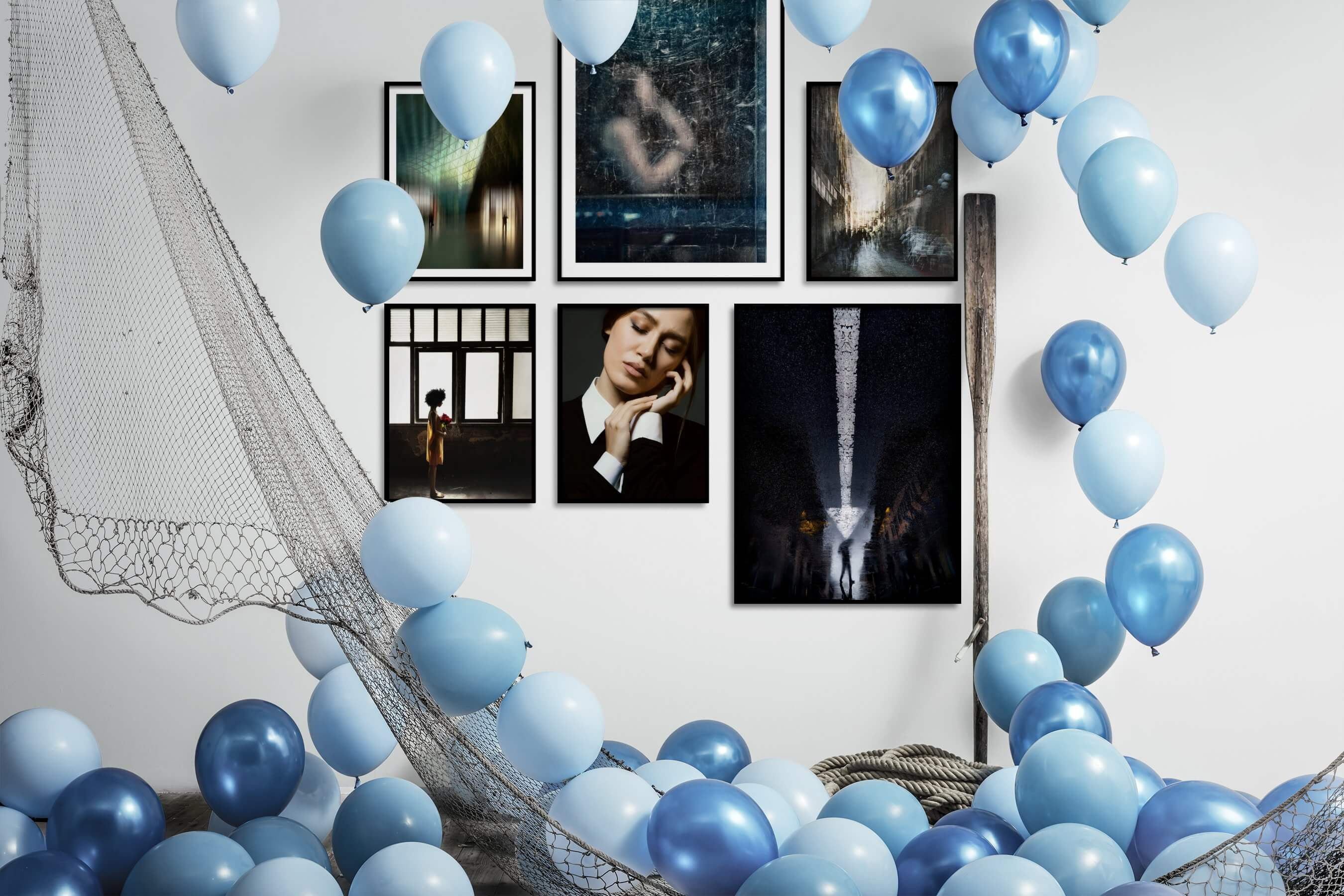 Gallery wall idea with six framed pictures arranged on a wall depicting For the Maximalist, City Life, Artsy, Fashion & Beauty, Dark Tones, and For the Minimalist
