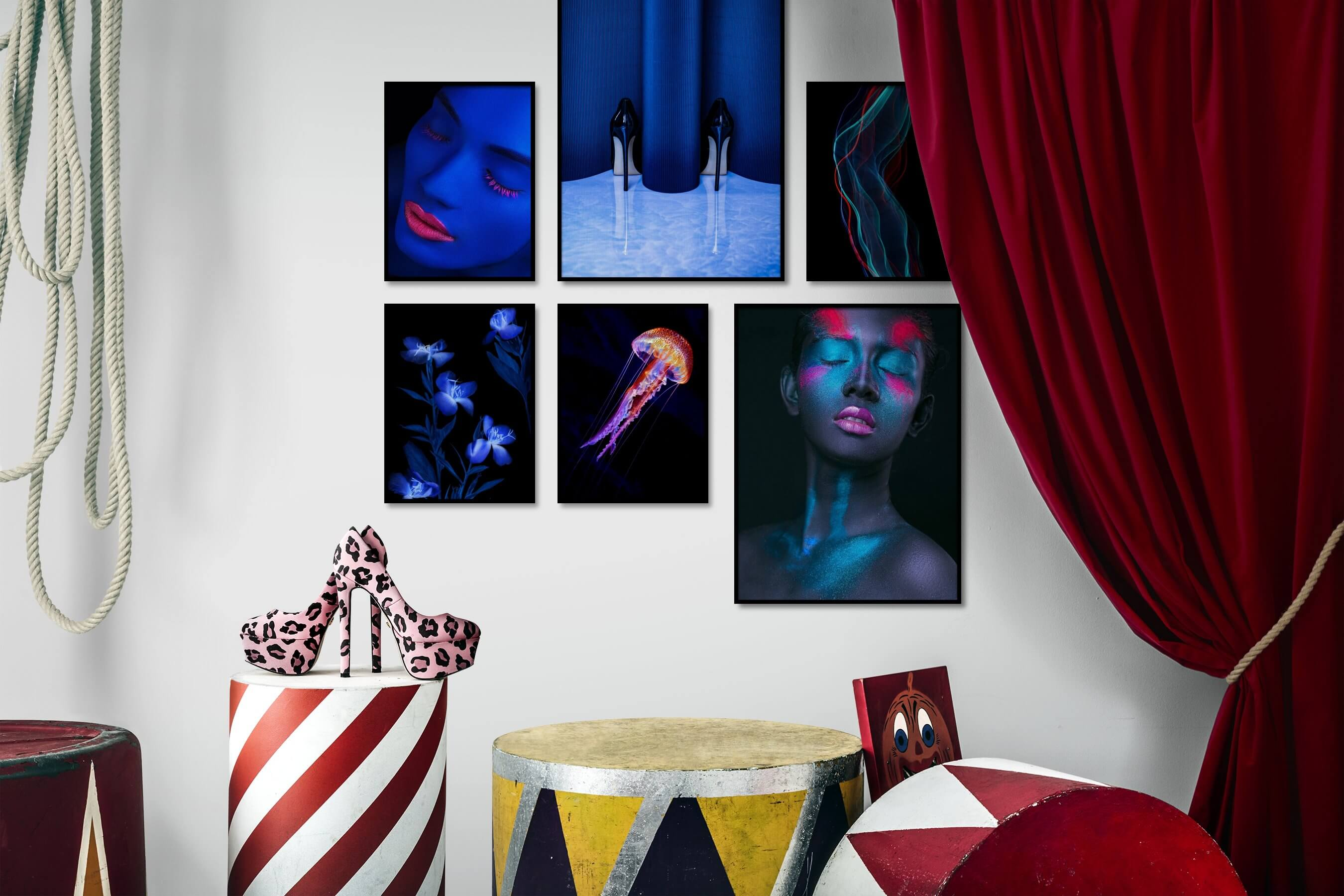Gallery wall idea with six framed pictures arranged on a wall depicting Fashion & Beauty, Dark Tones, Colorful, For the Moderate, Flowers & Plants, For the Minimalist, and Animals