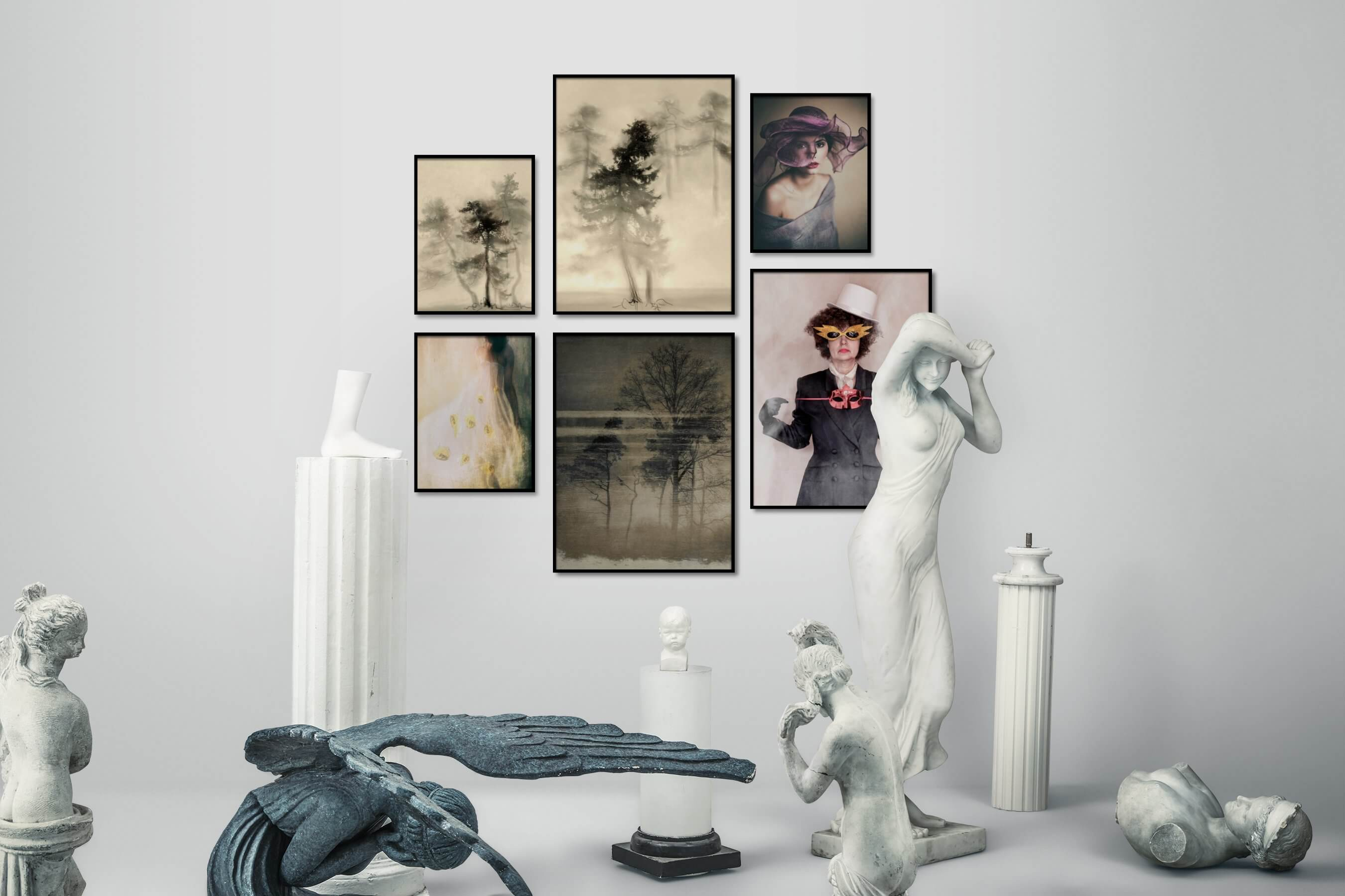 Gallery wall idea with six framed pictures arranged on a wall depicting Nature, Fashion & Beauty, and Vintage