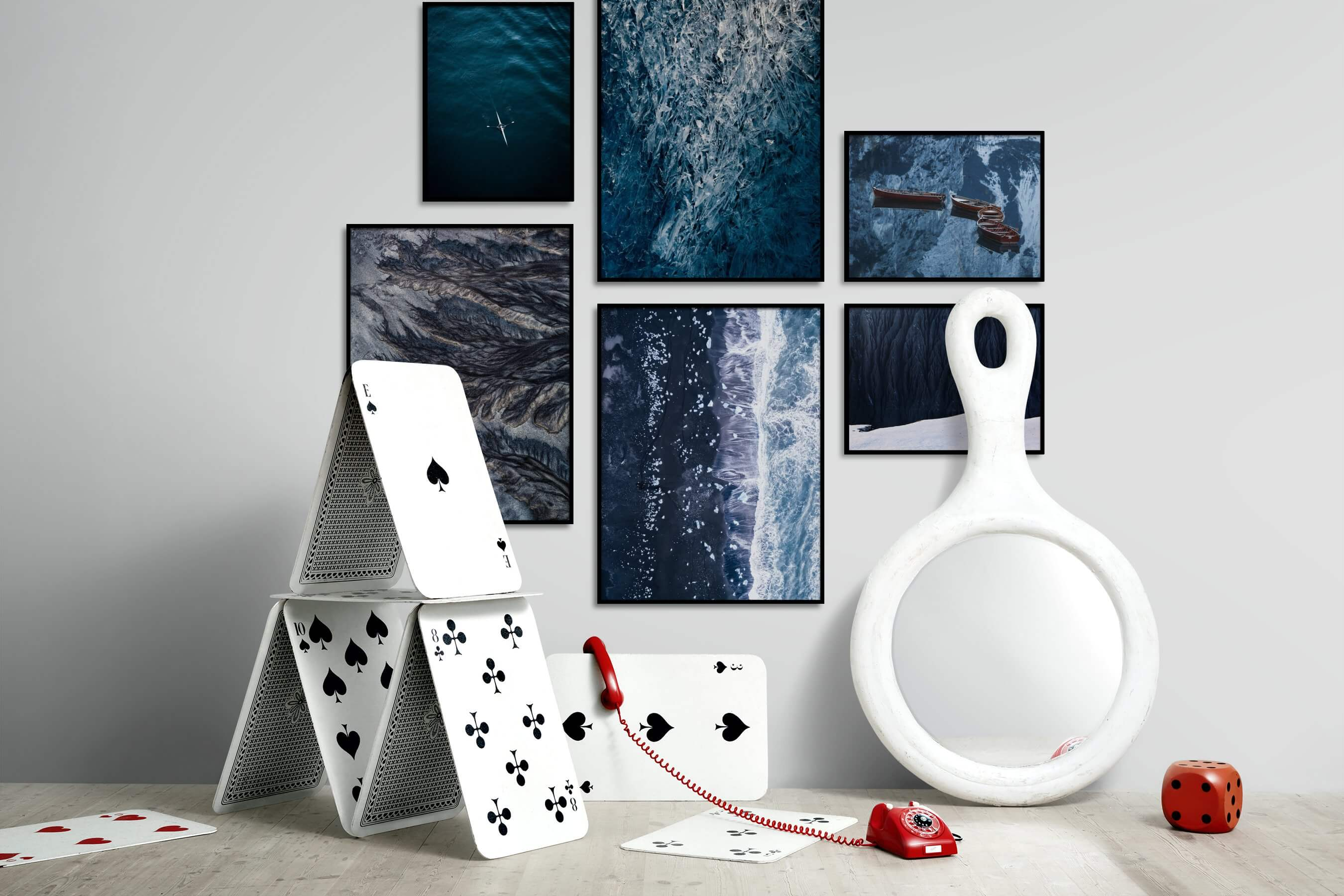 Gallery wall idea with six framed pictures arranged on a wall depicting For the Minimalist, Beach & Water, Mindfulness, For the Maximalist, Nature, For the Moderate, Dark Tones, and Country Life