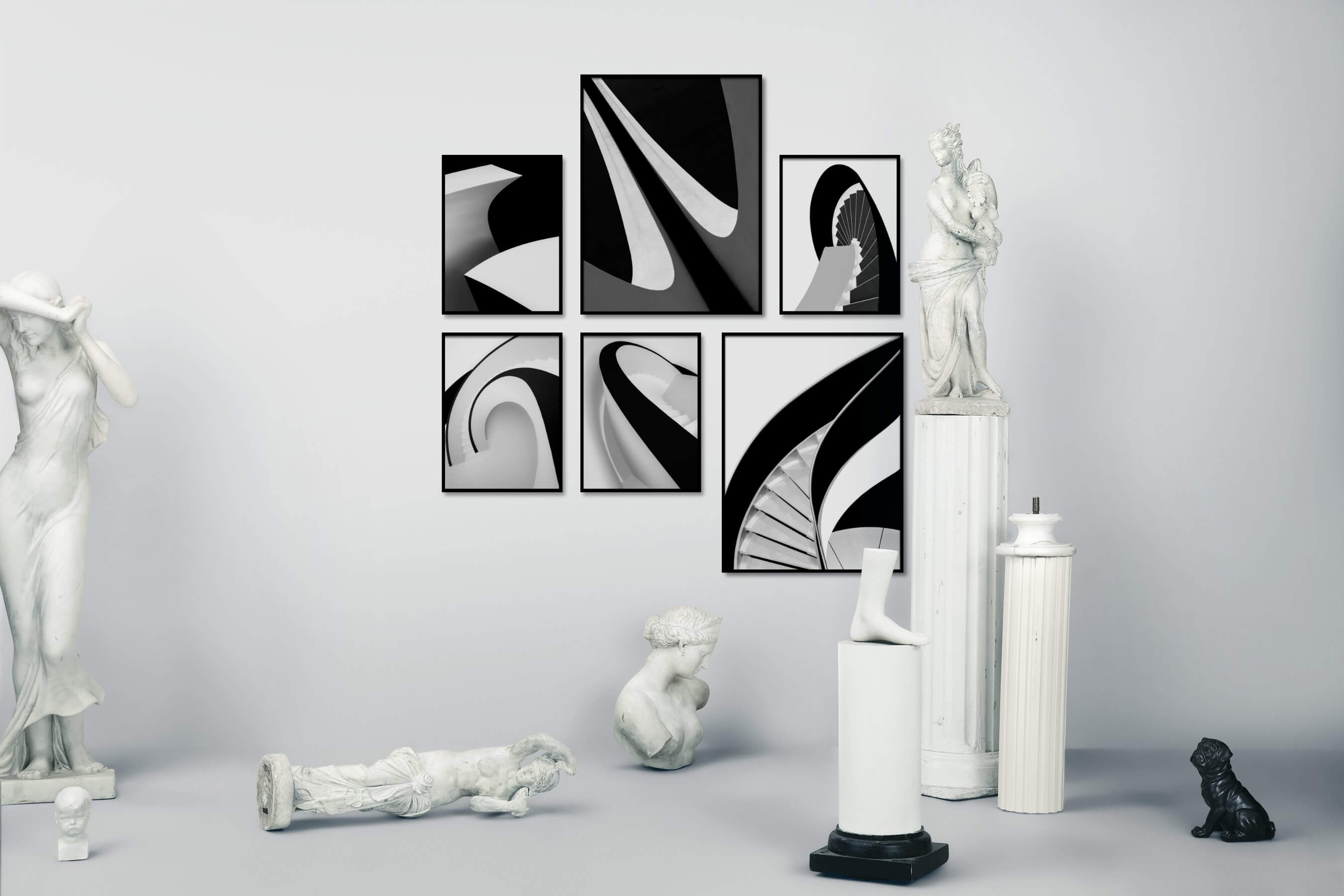 Gallery wall idea with six framed pictures arranged on a wall depicting Black & White, For the Minimalist, and For the Moderate