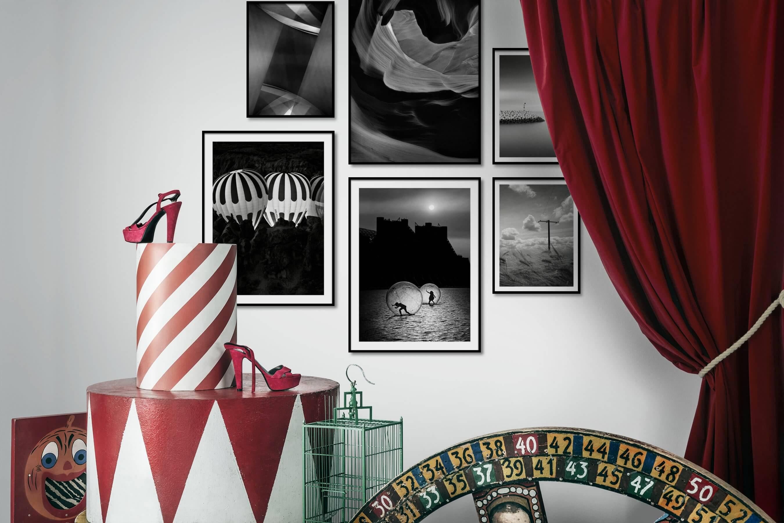 Gallery wall idea with six framed pictures arranged on a wall depicting Black & White, For the Moderate, Nature, For the Minimalist, Beach & Water, and Country Life