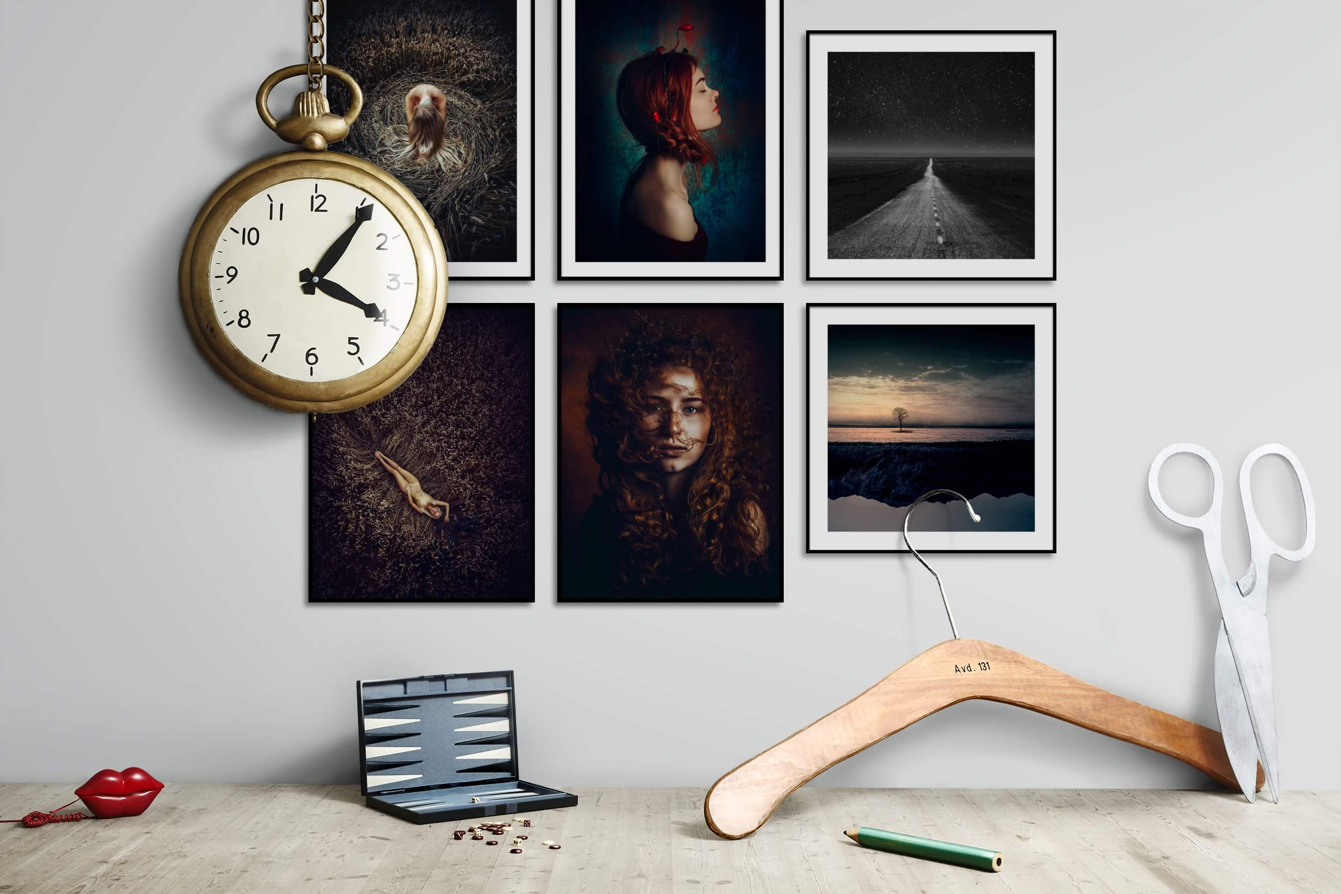 Gallery wall idea with six framed pictures arranged on a wall depicting Fashion & Beauty, Country Life, Artsy, Bold, Black & White, Mindfulness, and Nature