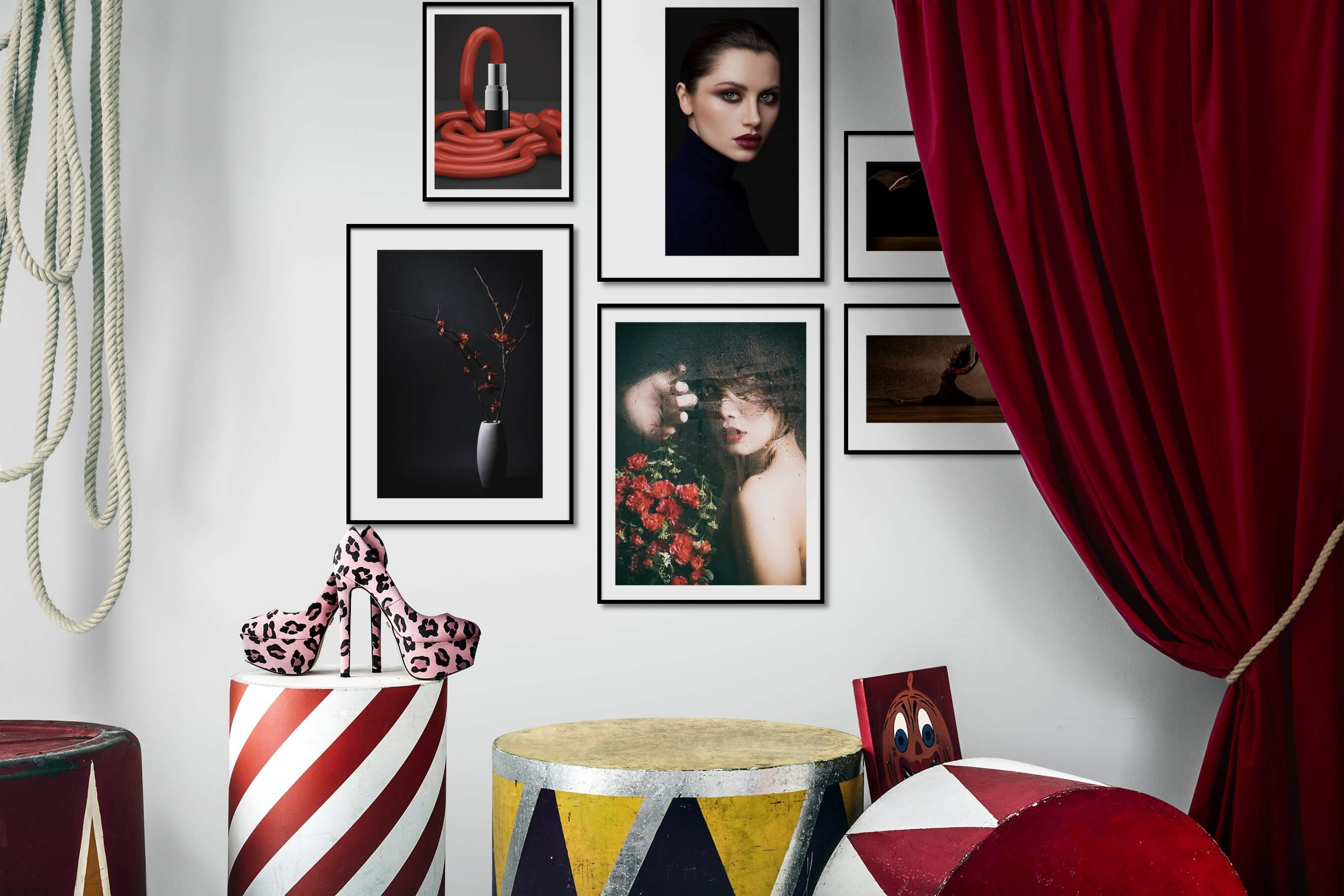 Gallery wall idea with six framed pictures arranged on a wall depicting Fashion & Beauty, For the Moderate, For the Minimalist, and Flowers & Plants
