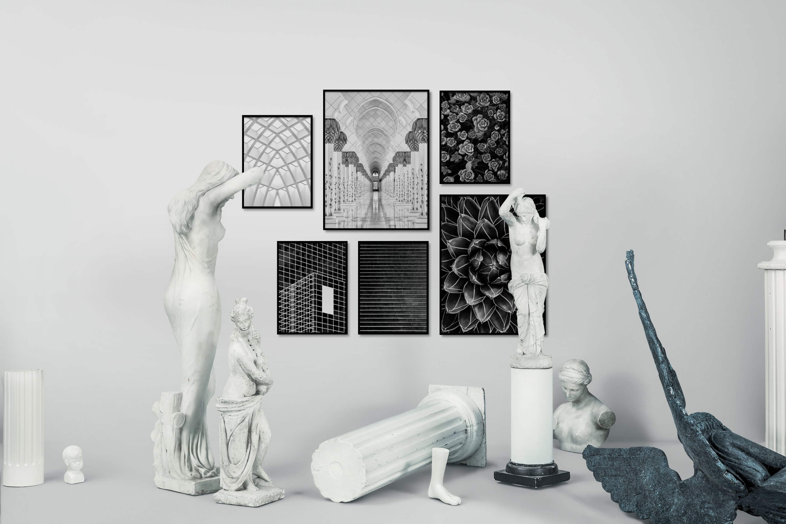Gallery wall idea with six framed pictures arranged on a wall depicting Black & White, For the Maximalist, City Life, For the Moderate, Flowers & Plants, and Dark Tones