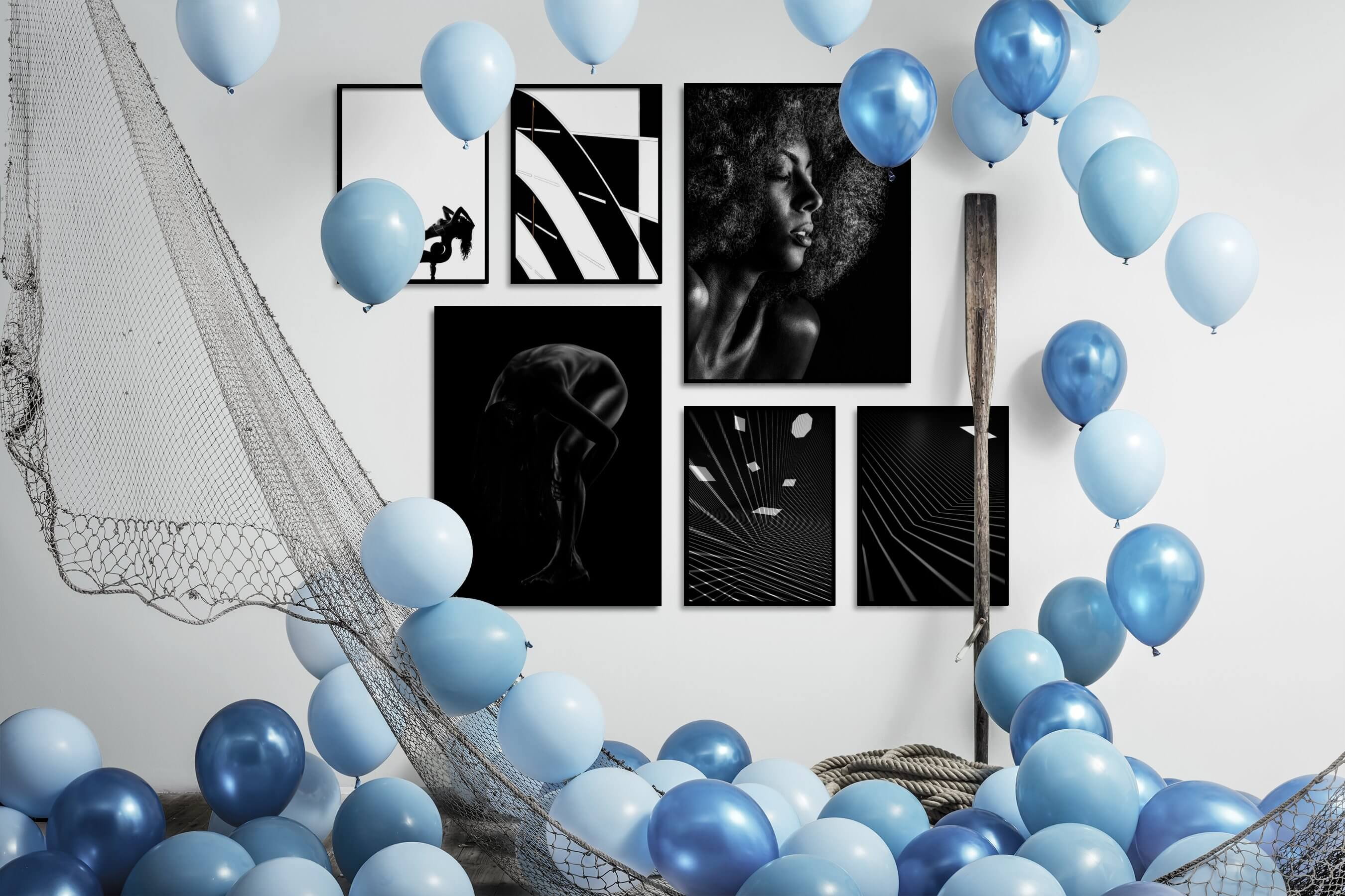 Gallery wall idea with six framed pictures arranged on a wall depicting Fashion & Beauty, Black & White, Bright Tones, For the Minimalist, For the Moderate, Dark Tones, and For the Maximalist