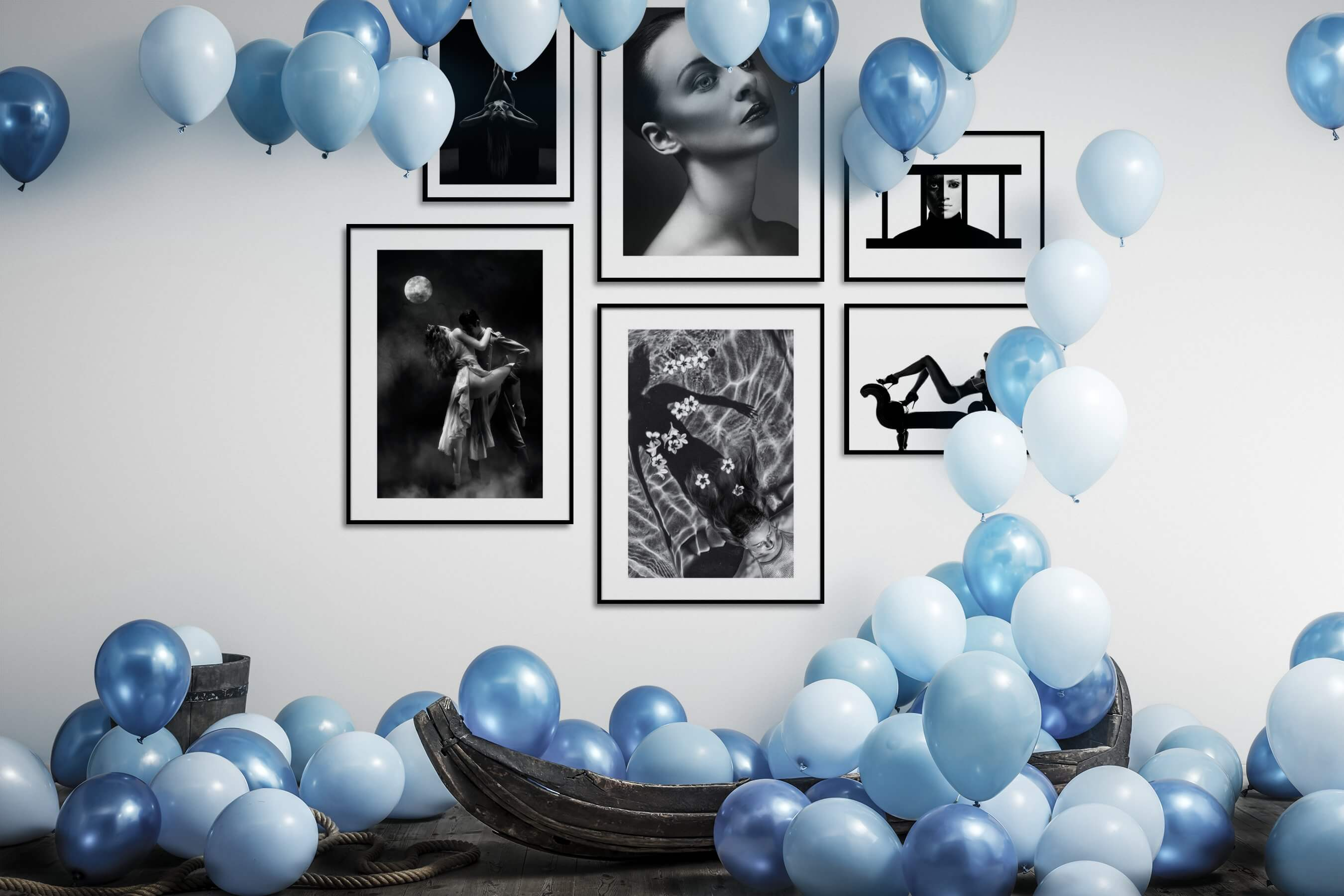 Gallery wall idea with six framed pictures arranged on a wall depicting Fashion & Beauty, Black & White, For the Minimalist, Beach & Water, Artsy, and Bright Tones