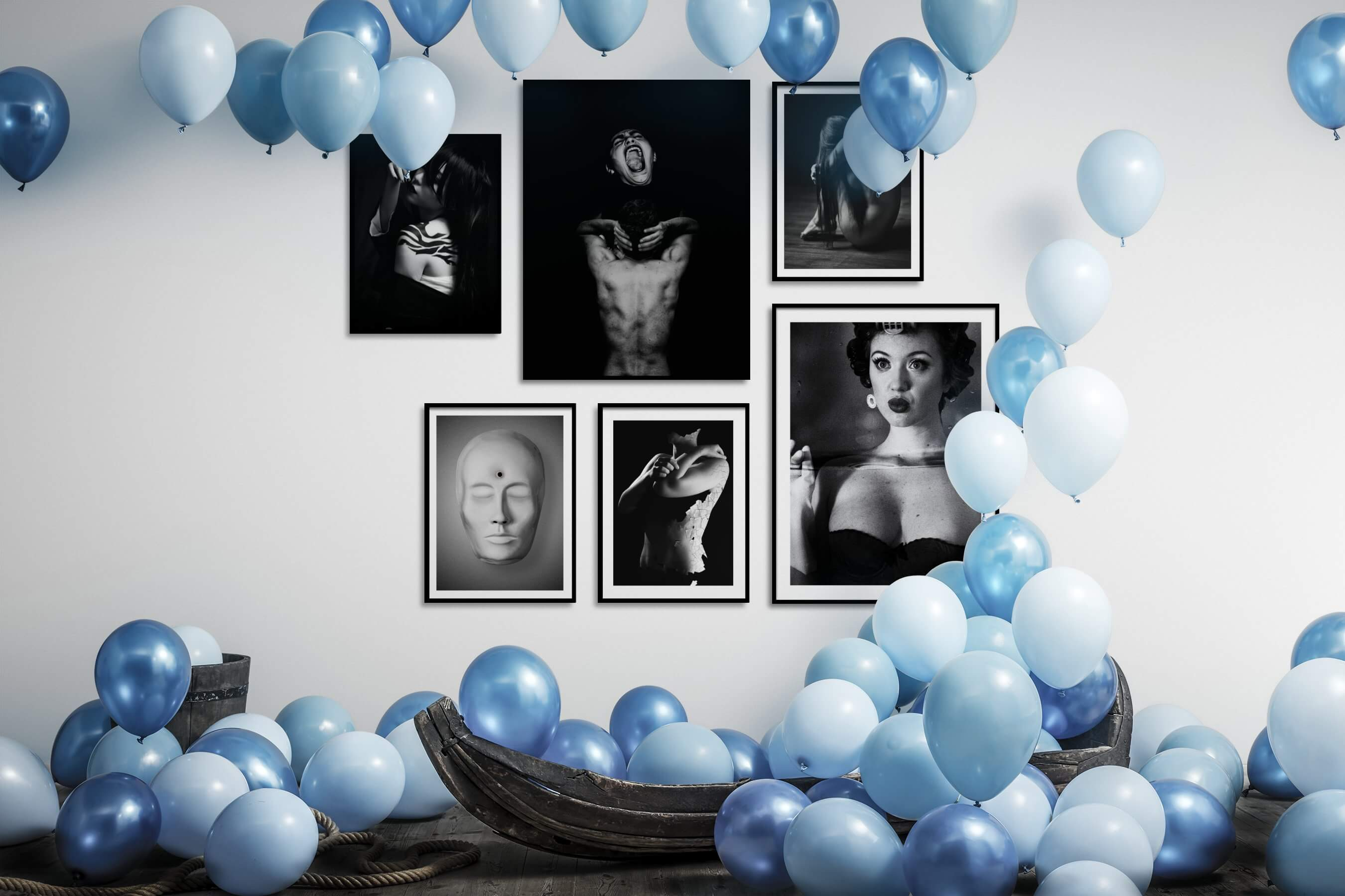 Gallery wall idea with six framed pictures arranged on a wall depicting Fashion & Beauty, Black & White, Dark Tones, Artsy, For the Minimalist, and Vintage