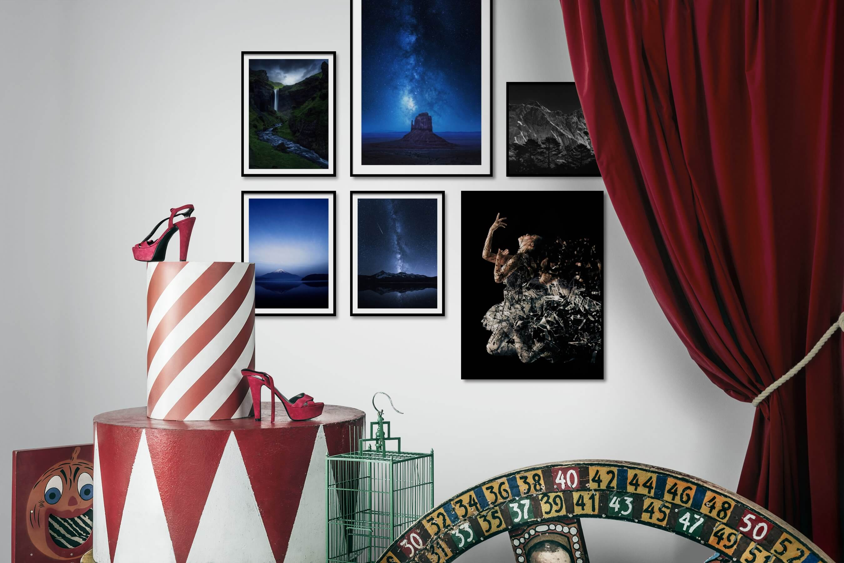 Gallery wall idea with six framed pictures arranged on a wall depicting Nature, Americana, Artsy, Dark Tones, Black & White, and Mindfulness