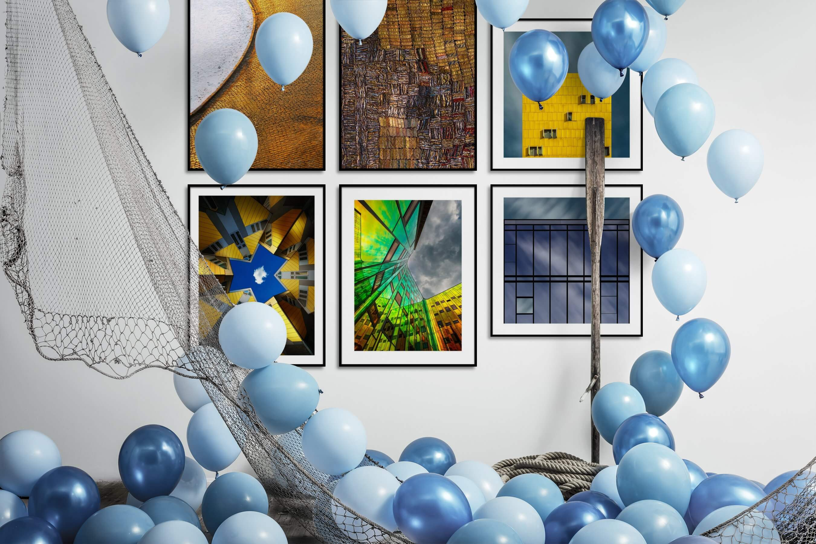 Gallery wall idea with six framed pictures arranged on a wall depicting For the Moderate, Colorful, For the Maximalist, City Life, and For the Minimalist
