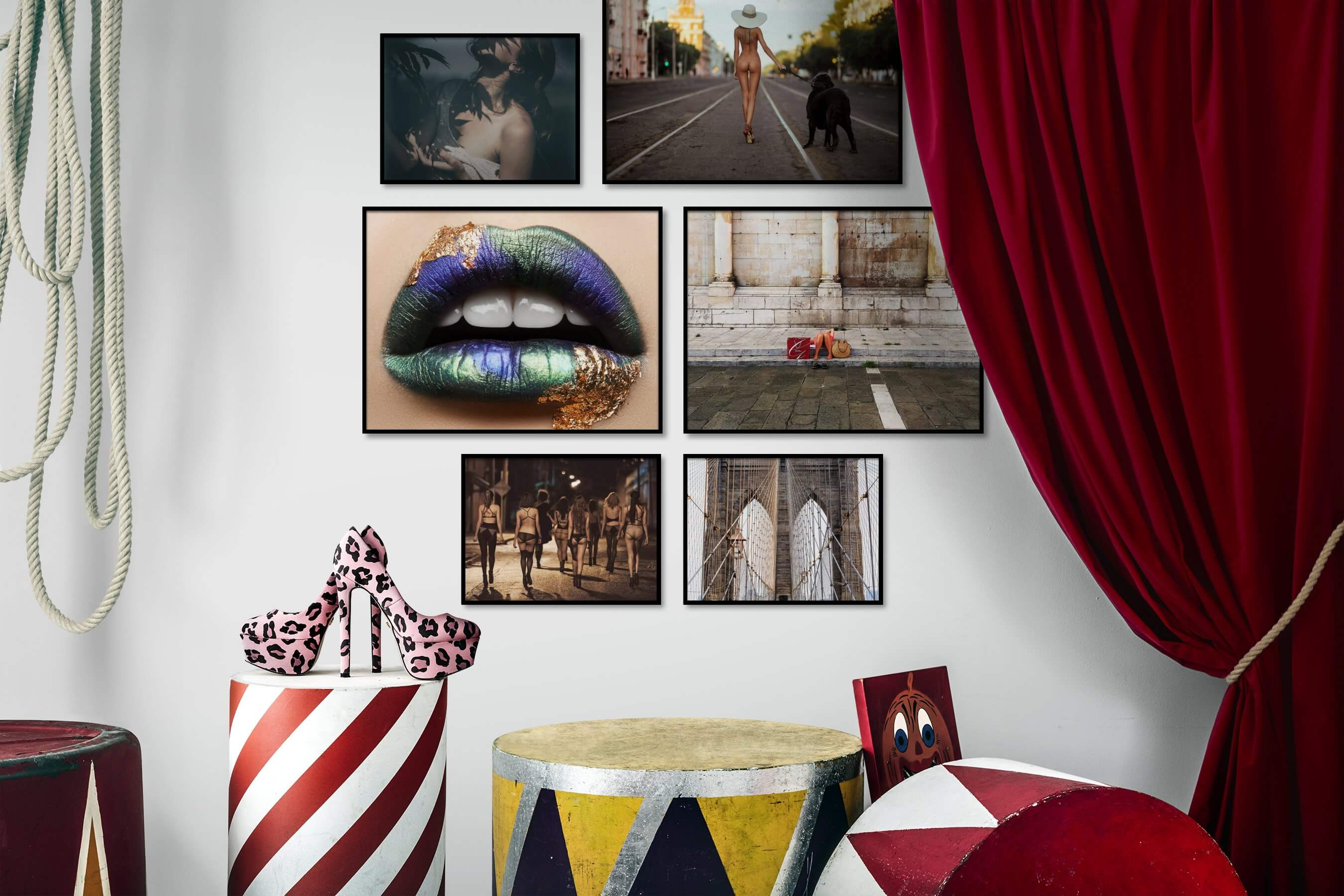 Gallery wall idea with six framed pictures arranged on a wall depicting Fashion & Beauty, Artsy, City Life, Colorful, For the Moderate, and Americana