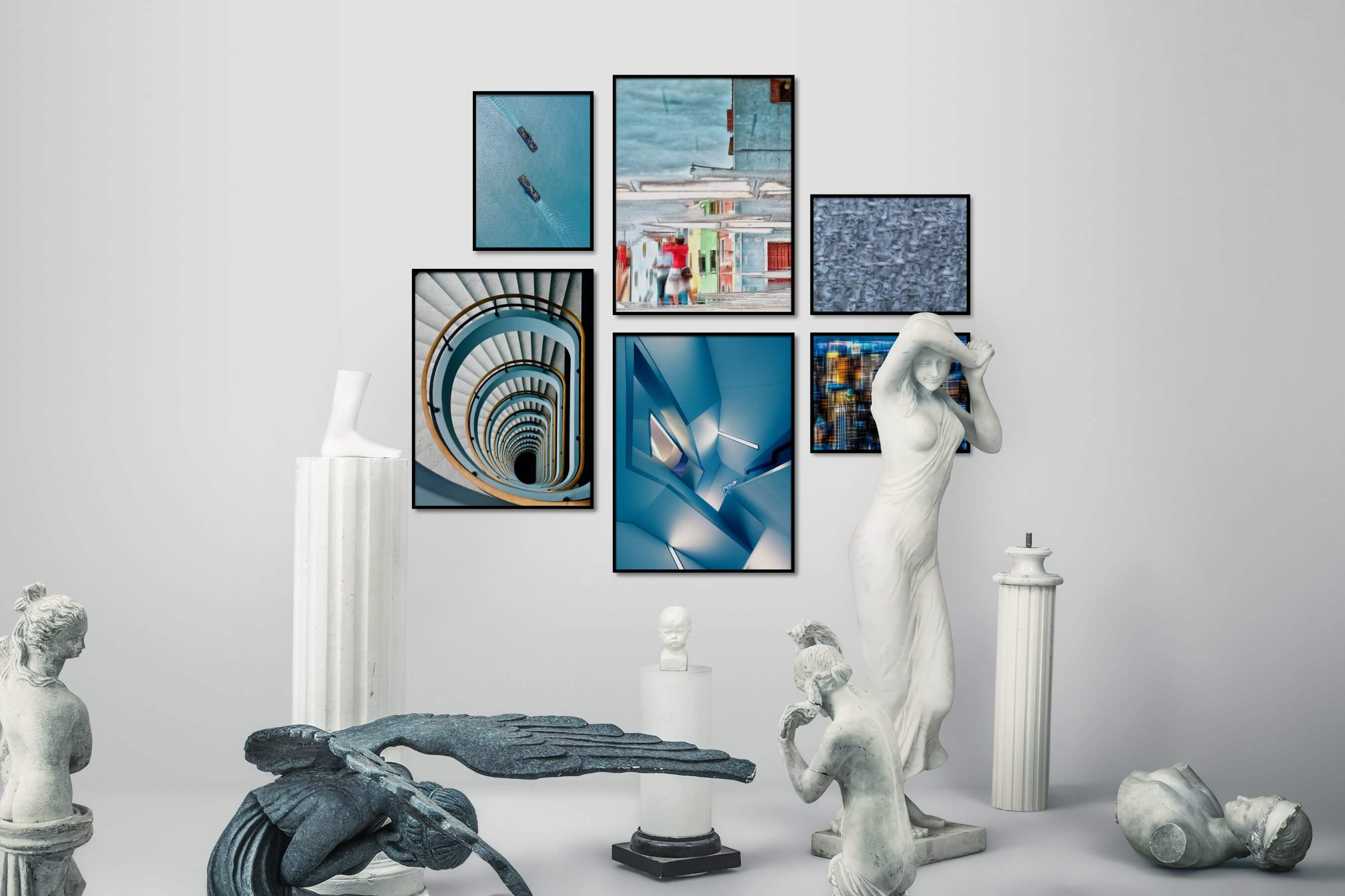 Gallery wall idea with six framed pictures arranged on a wall depicting For the Minimalist, Beach & Water, For the Moderate, City Life, For the Maximalist, Animals, and Americana