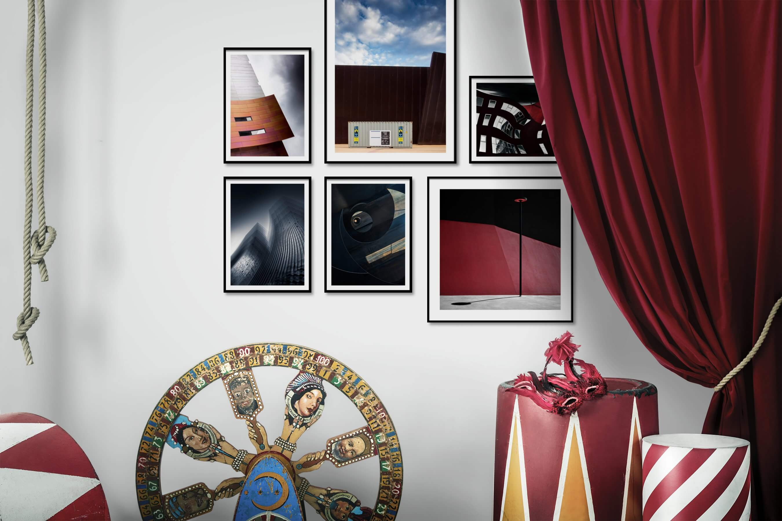 Gallery wall idea with six framed pictures arranged on a wall depicting For the Moderate, Black & White, City Life, and For the Minimalist